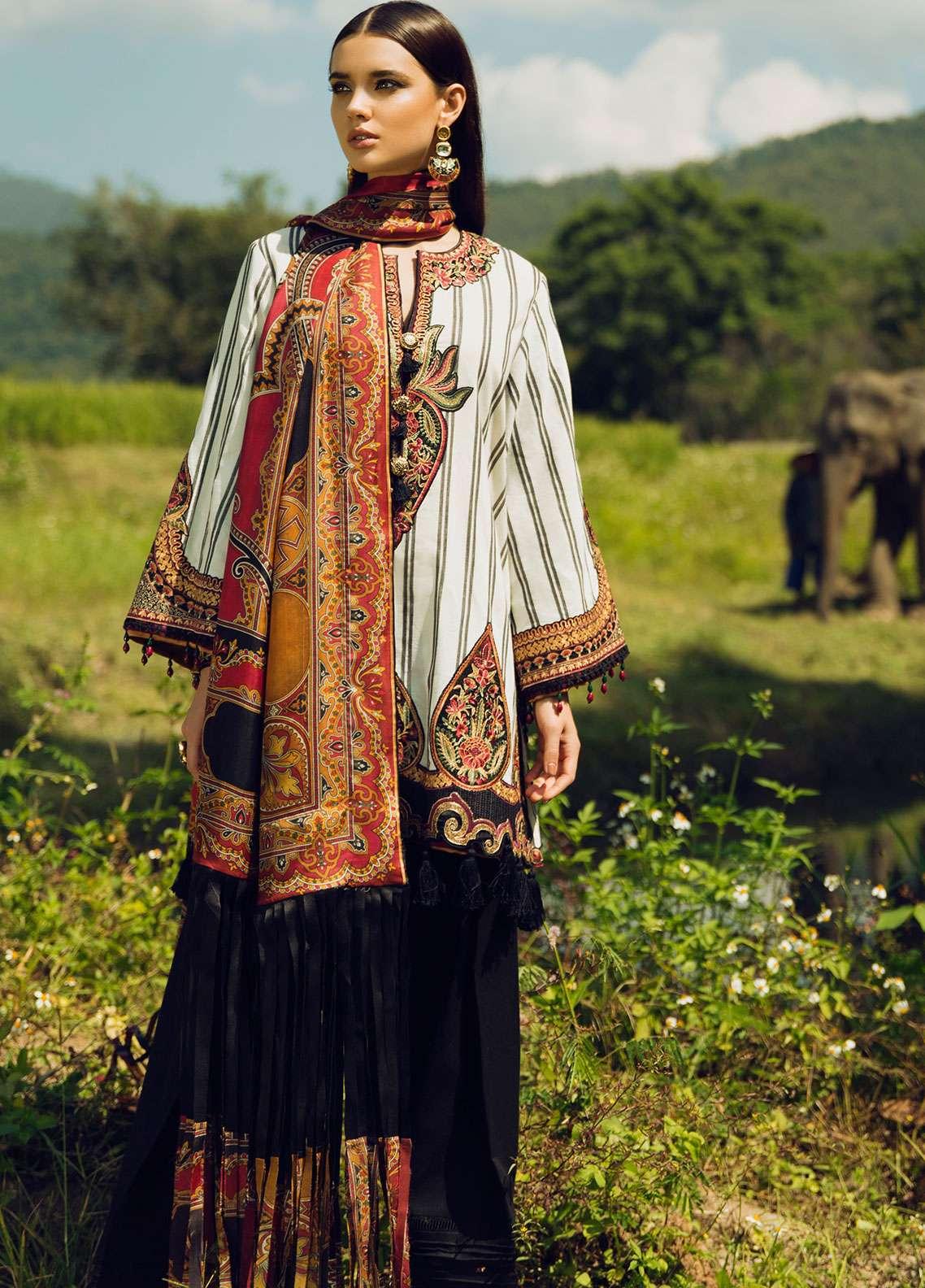 Elan Embroidered Silk Unstitched 3 Piece Suit EL18W Kalamae - Winter Collection