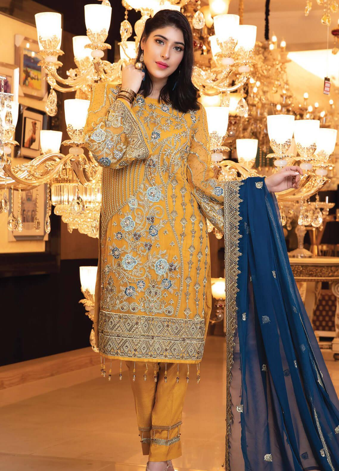 Elaf Embroidered Chiffon Unstitched 3 Piece Suit EL19-C3 302 ASTHETIC MUSTARD - Premium Collection