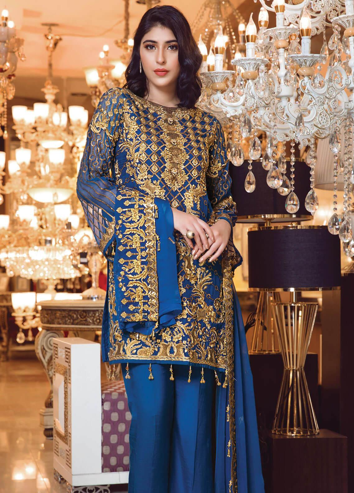 Elaf Embroidered Chiffon Unstitched 3 Piece Suit EL19-C3 304 BERKSHINE BLUE - Premium Collection