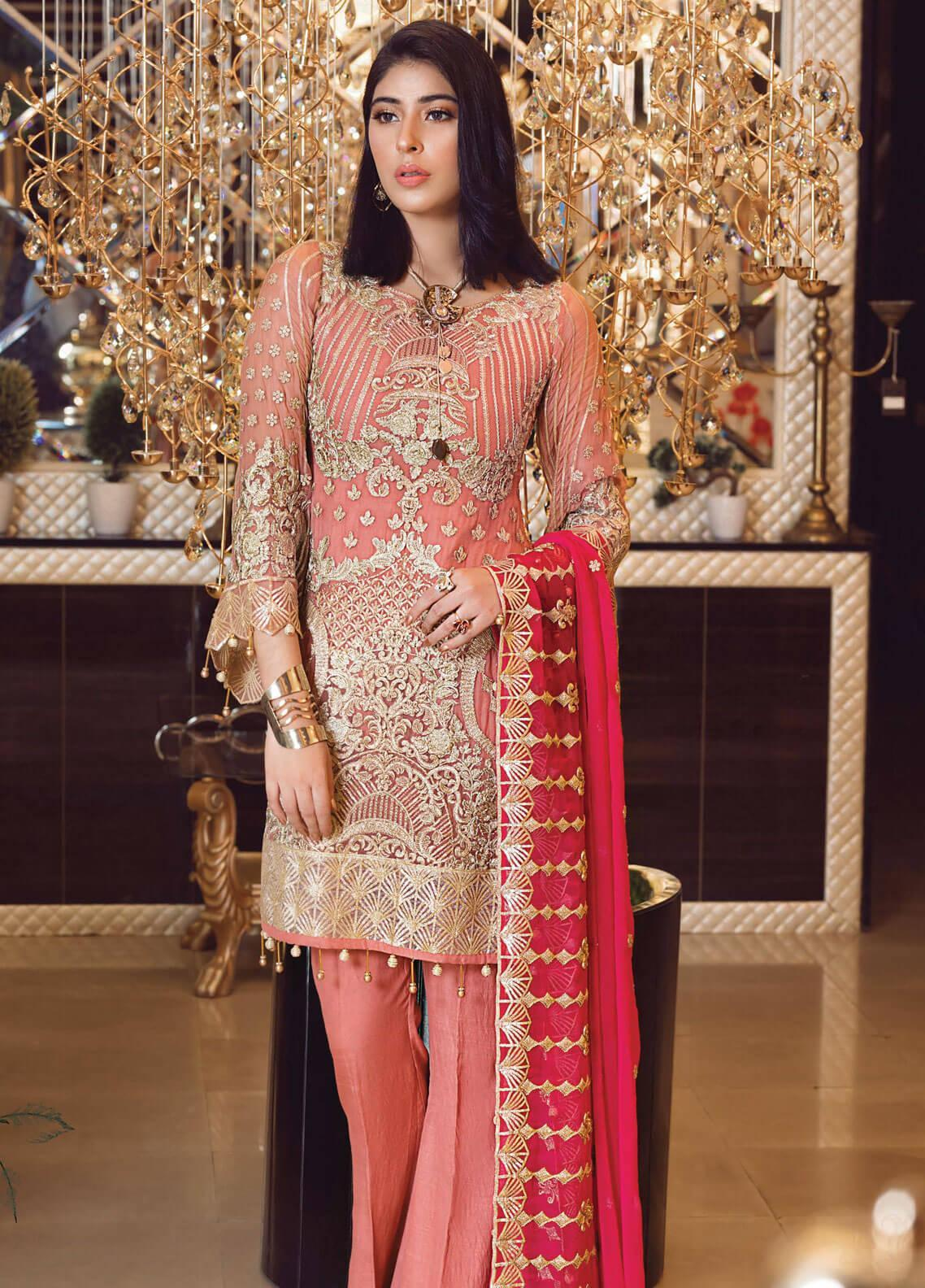 Elaf Embroidered Chiffon Unstitched 3 Piece Suit EL19-C3 305 PUNCH PINK - Premium Collection