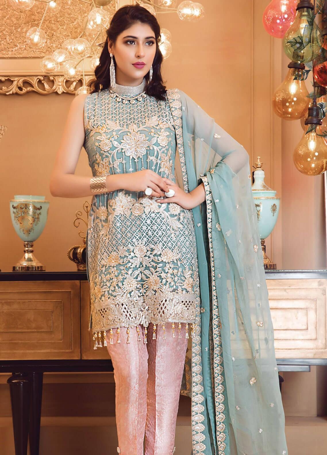 Elaf Embroidered Chiffon Unstitched 3 Piece Suit EL19-C3 306 PALE TURQUOISE - Premium Collection