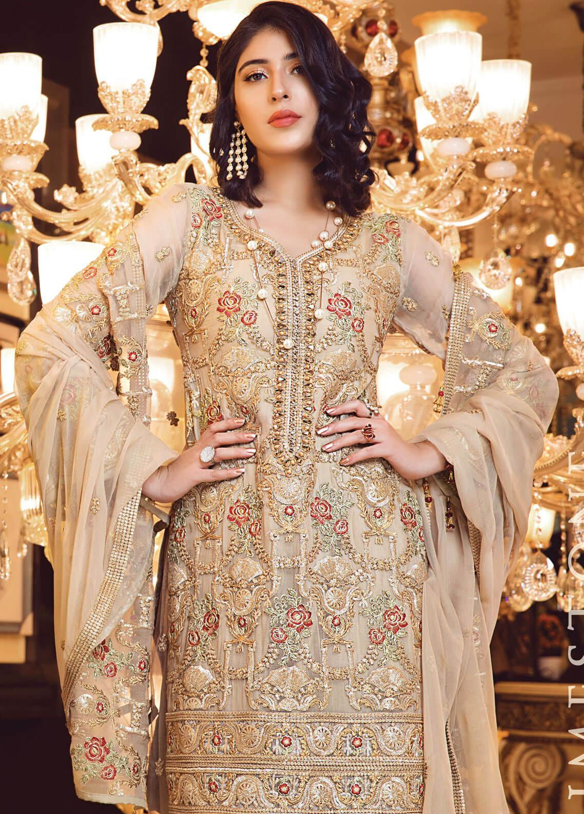 Elaf Embroidered Chiffon Unstitched 3 Piece Suit EL19-C3 308 LIMESTONE - Premium Collection