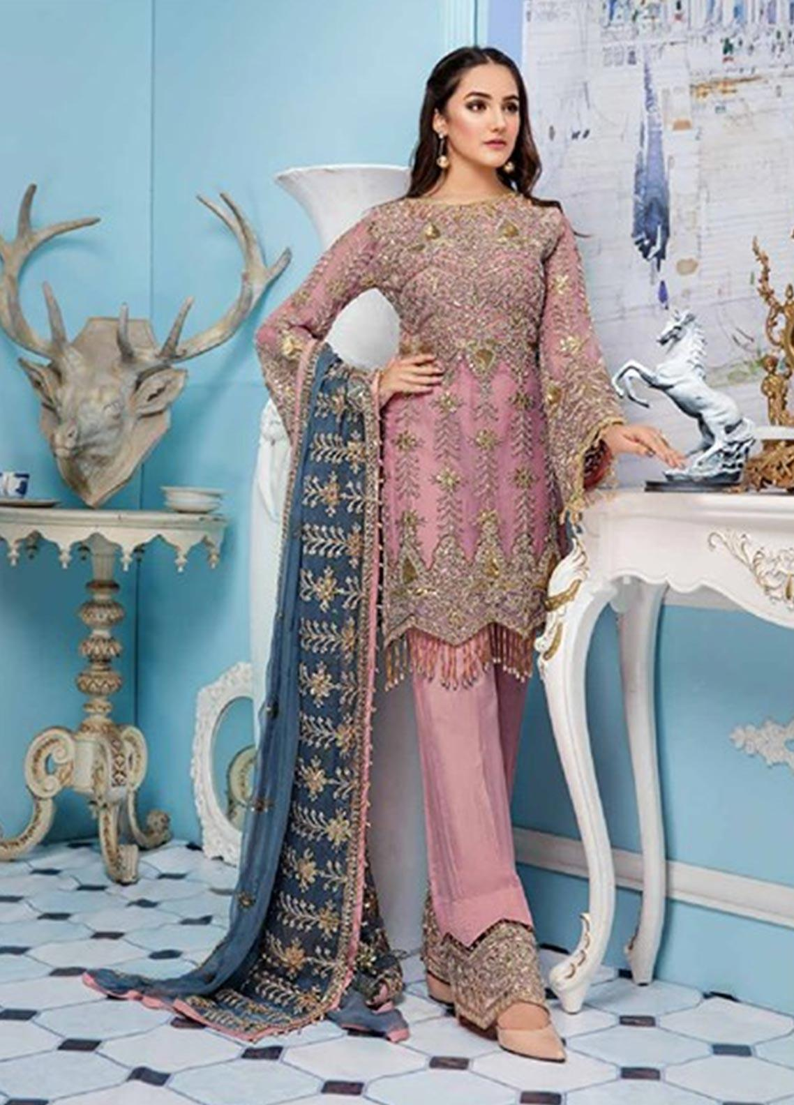 Elaf Embroidered Chiffon Unstitched 3 Piece Suit EL19-C4 403 BALLERINA PINK - Luxury Collection