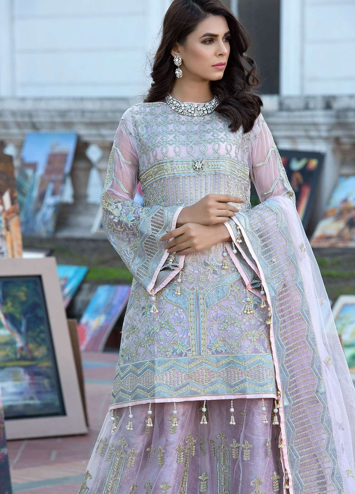Elaf Embroidered Chiffon Unstitched 3 Piece Suit ELF19C 02 - Luxury Collection