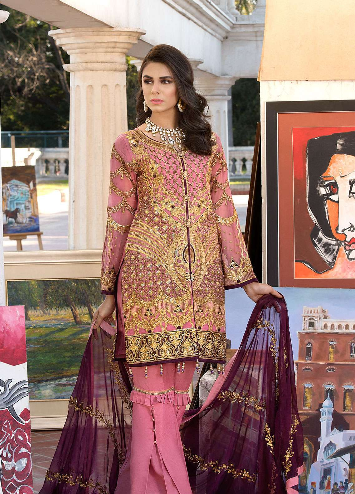 Elaf Embroidered Chiffon Unstitched 3 Piece Suit ELF19C 05 - Luxury Collection