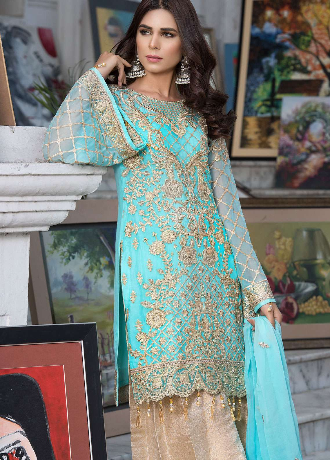 Elaf Embroidered Chiffon Unstitched 3 Piece Suit ELF19C 06 - Luxury Collection