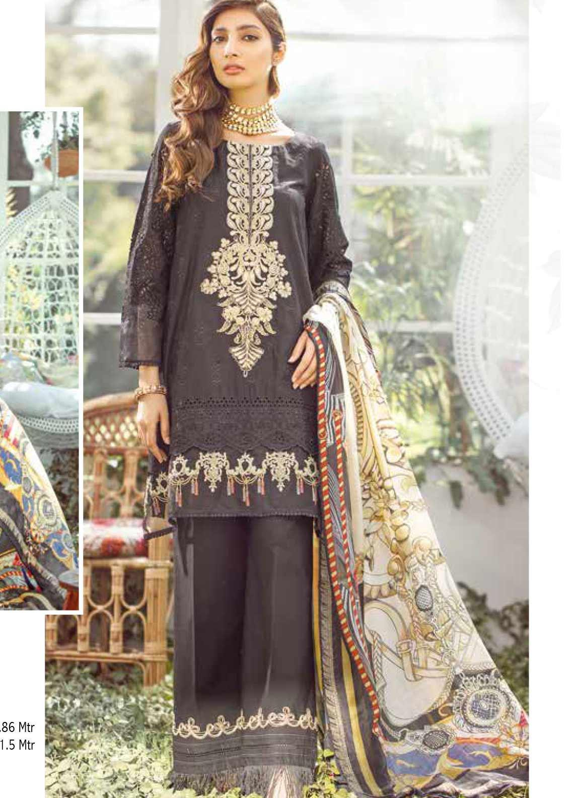 Elaf Embroidered Lawn Unstitched 3 Piece Suit EL20P BLACK 02 - Luxury Collection