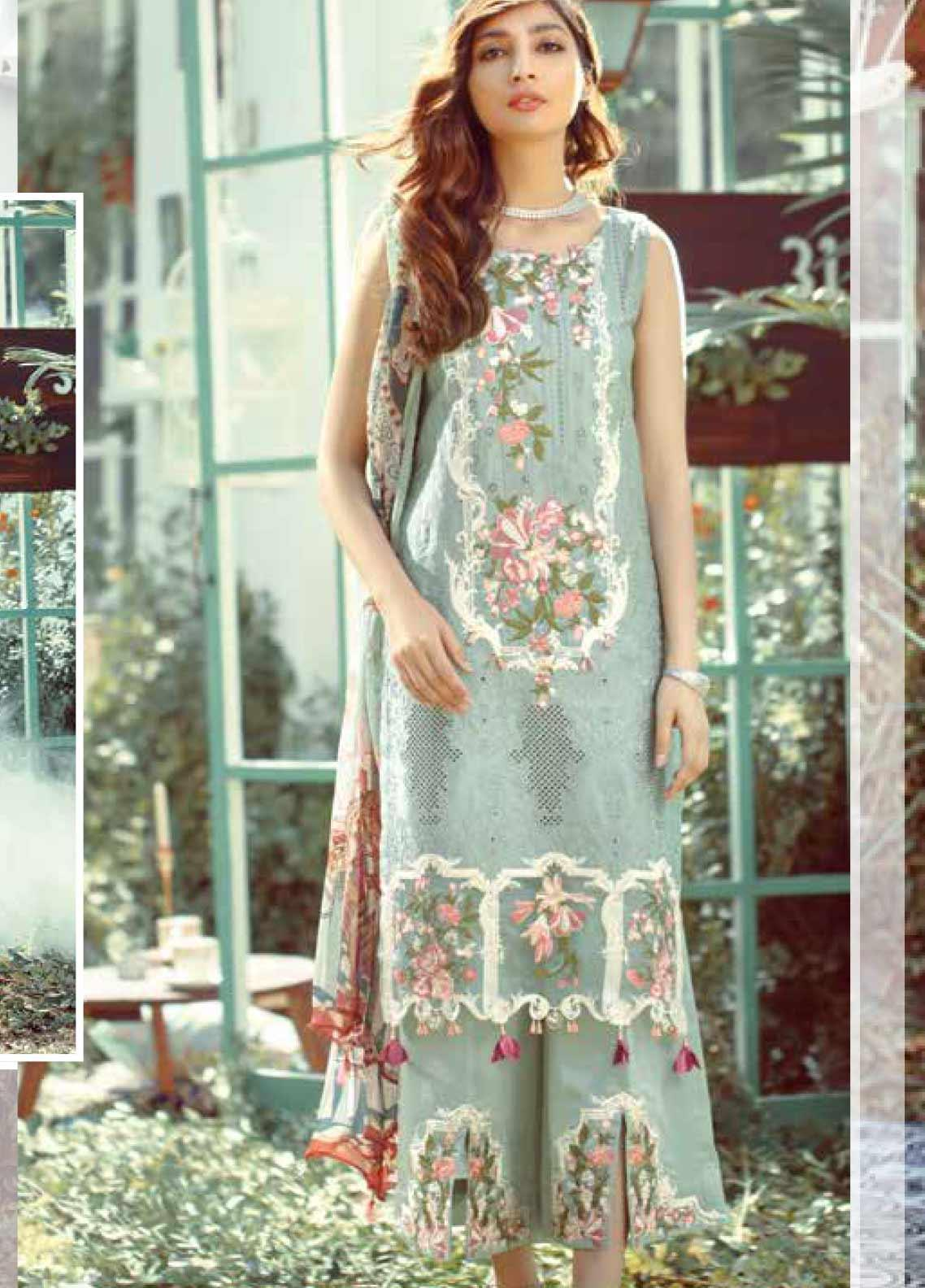 Elaf Embroidered Lawn Unstitched 3 Piece Suit EL20P LIGHT GREEN 09 - Luxury Collection