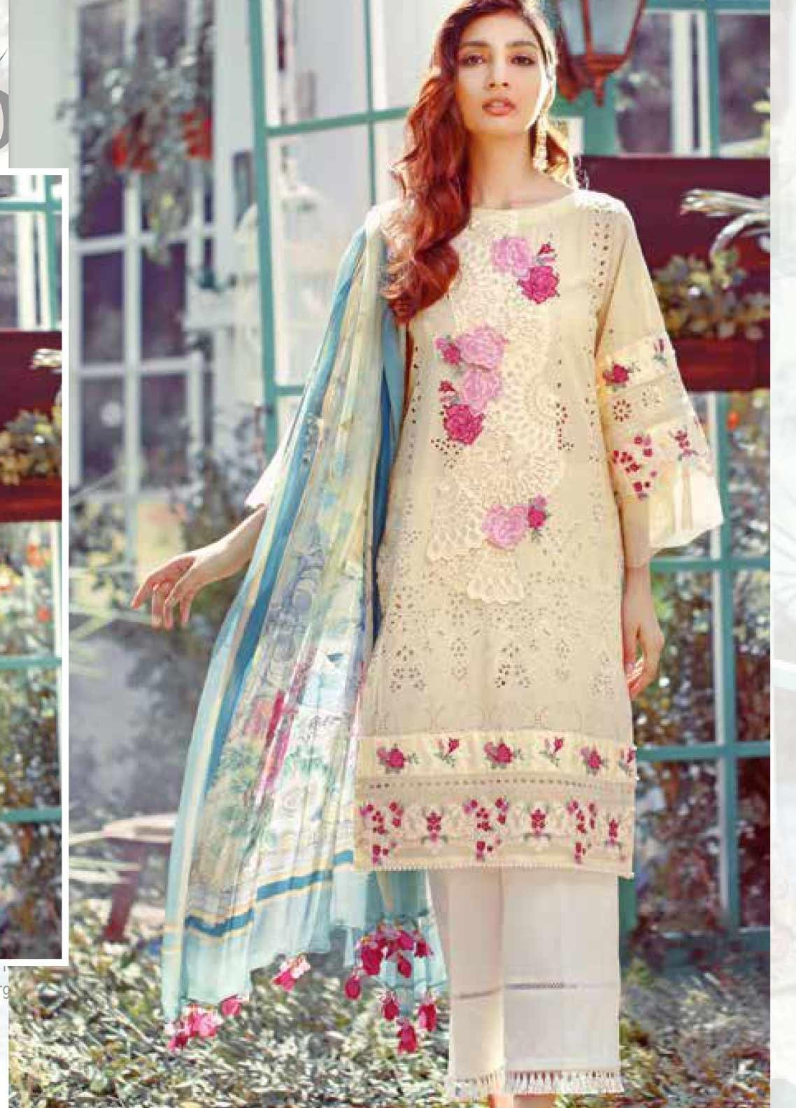 Elaf Embroidered Lawn Unstitched 3 Piece Suit EL20P YELLOW 06 - Luxury Collection
