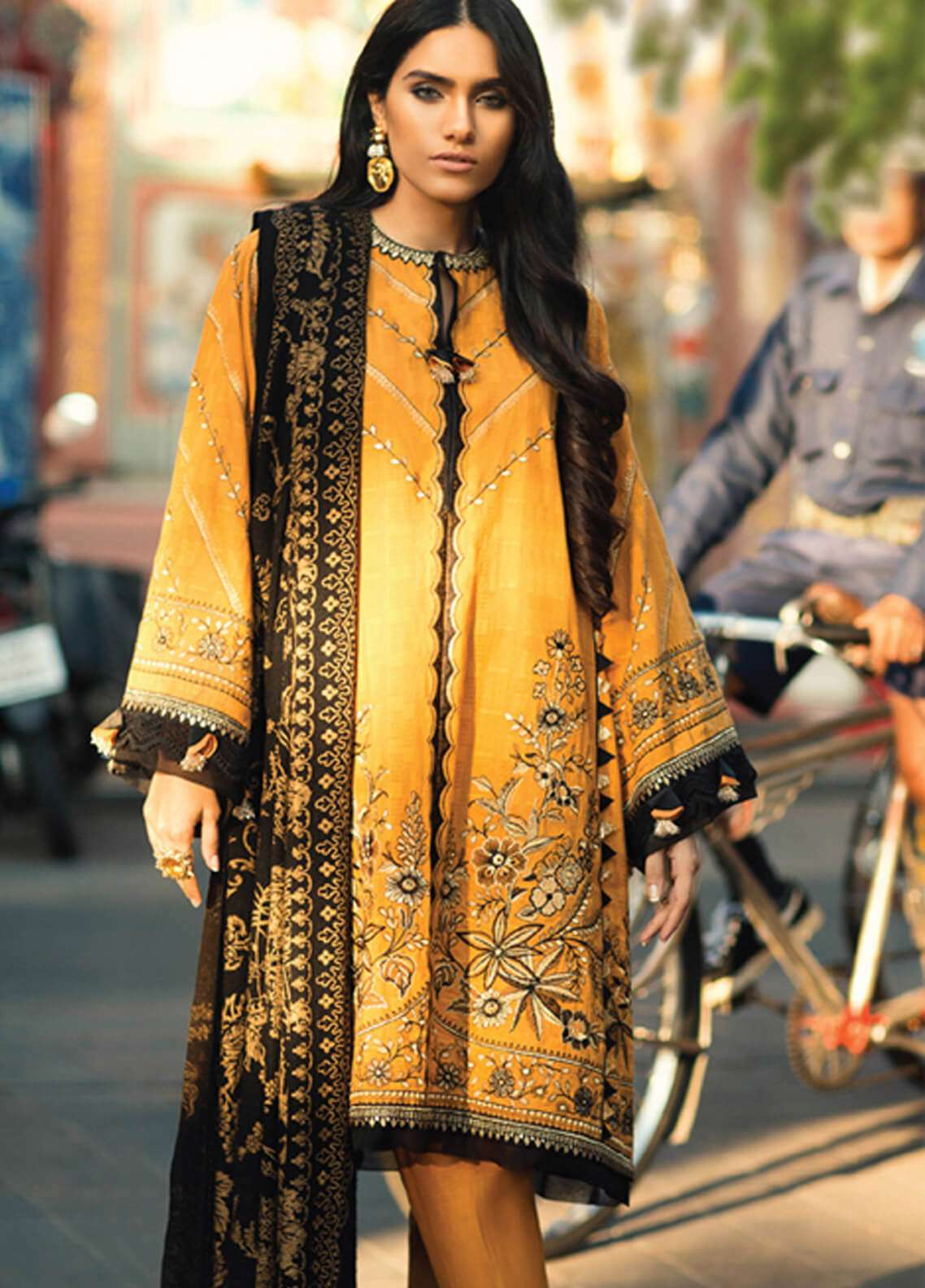 Elan Embroidered Silk Unstitched 3 Piece Suit EL18W Cheng - Winter Collection