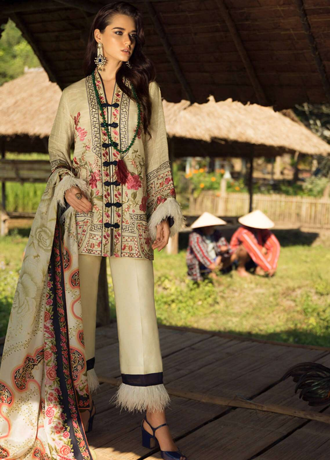 Elan Embroidered Silk Unstitched 3 Piece Suit EL18W Nam Wan - Winter Collection
