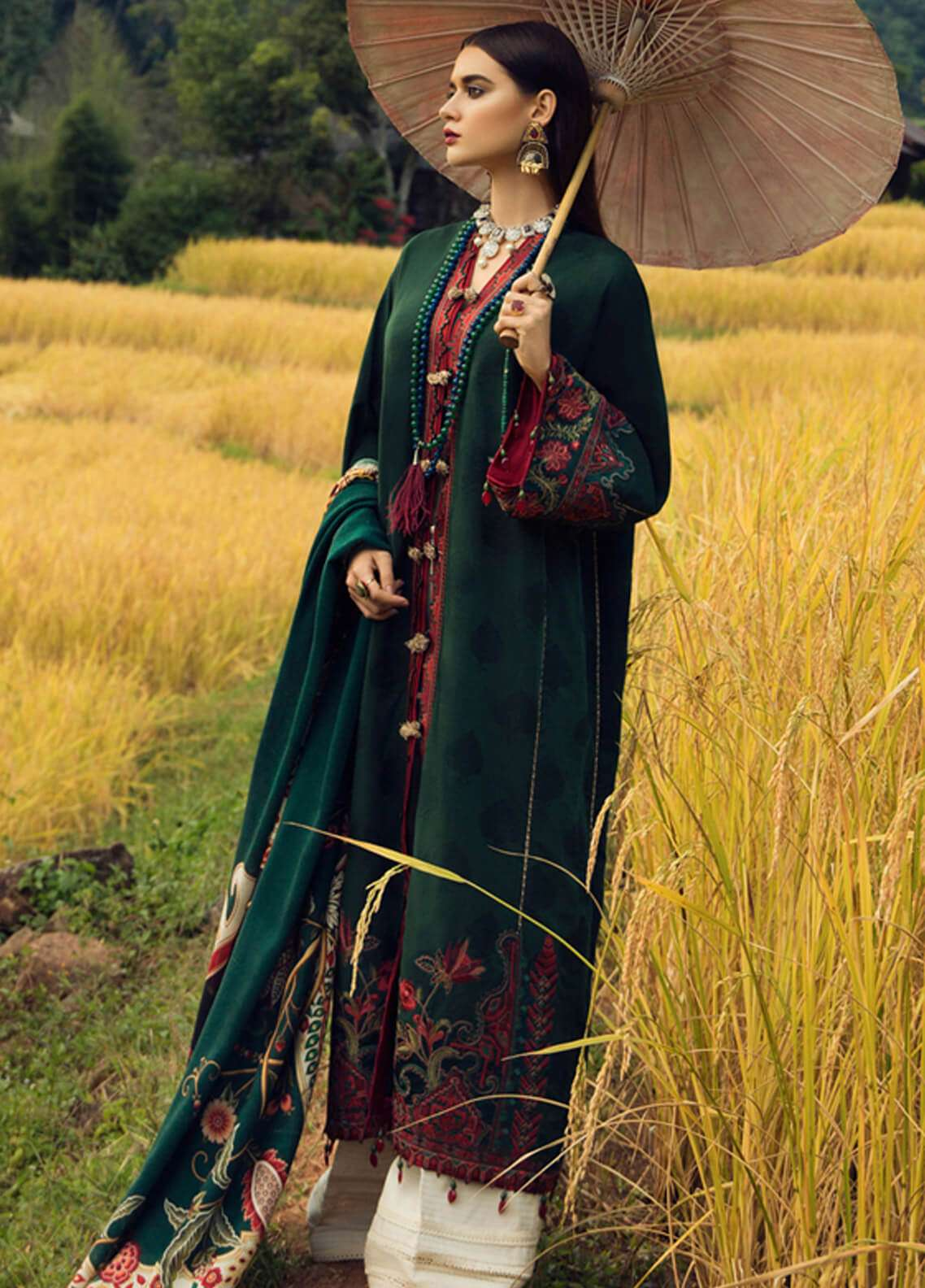 Elan Embroidered Silk Unstitched 3 Piece Suit EL18W Suay - Winter Collection