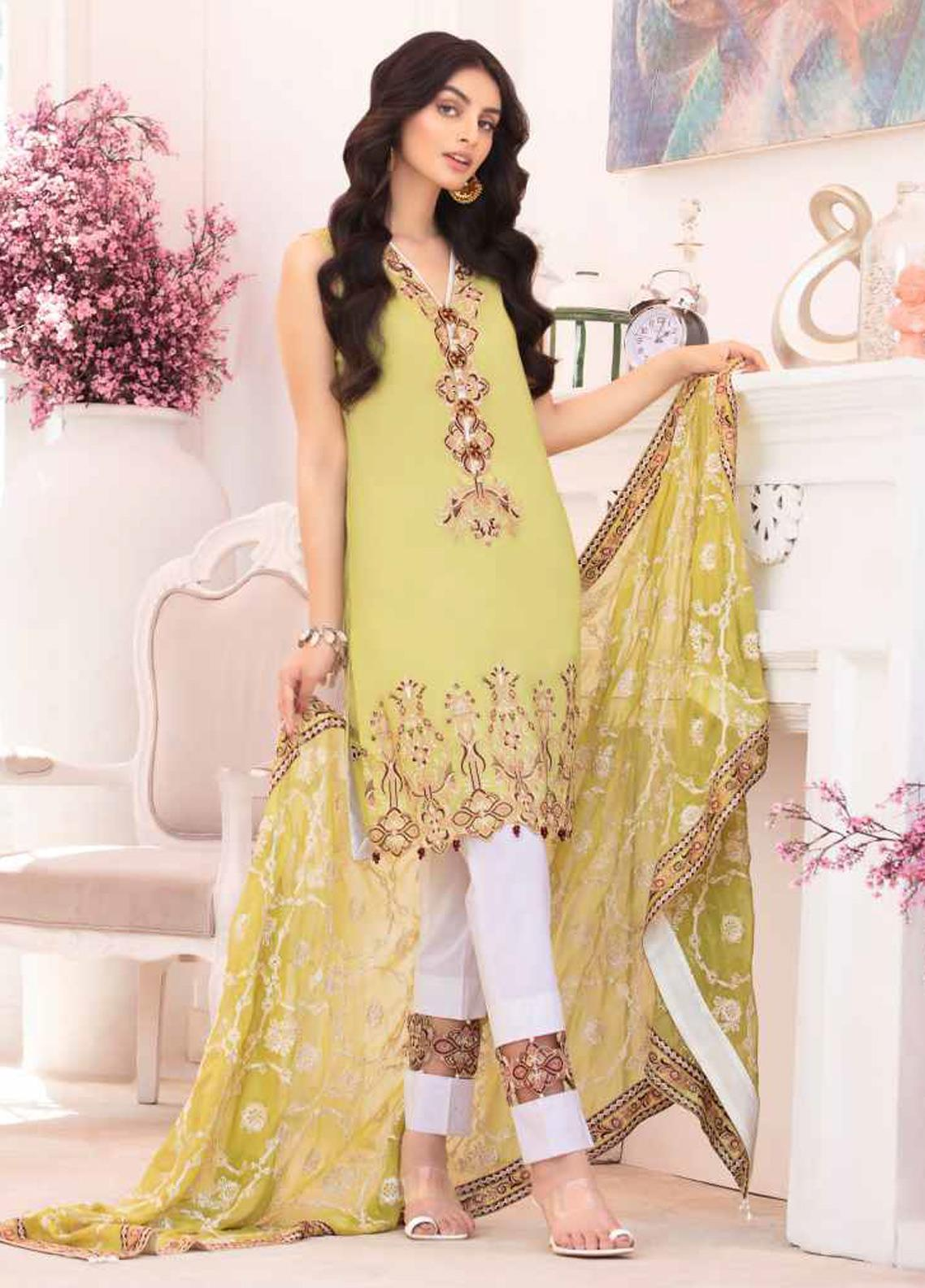 Elysia by Sana Sheraz Embroidered Lawn Unstitched 3 Piece Suit SS20E 01 Chamomile - Luxury Collection