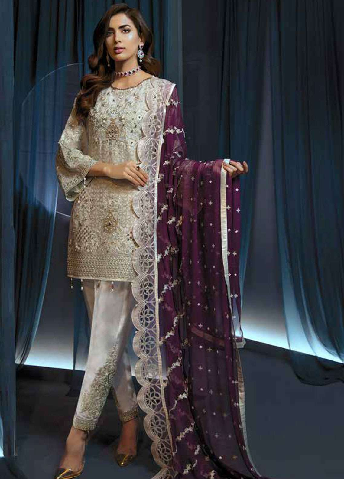 Emaan Adeel Embroidered Chiffon Unstitched 3 Piece Suit EA19C 102 COSMIC STAR - Luxury Collection