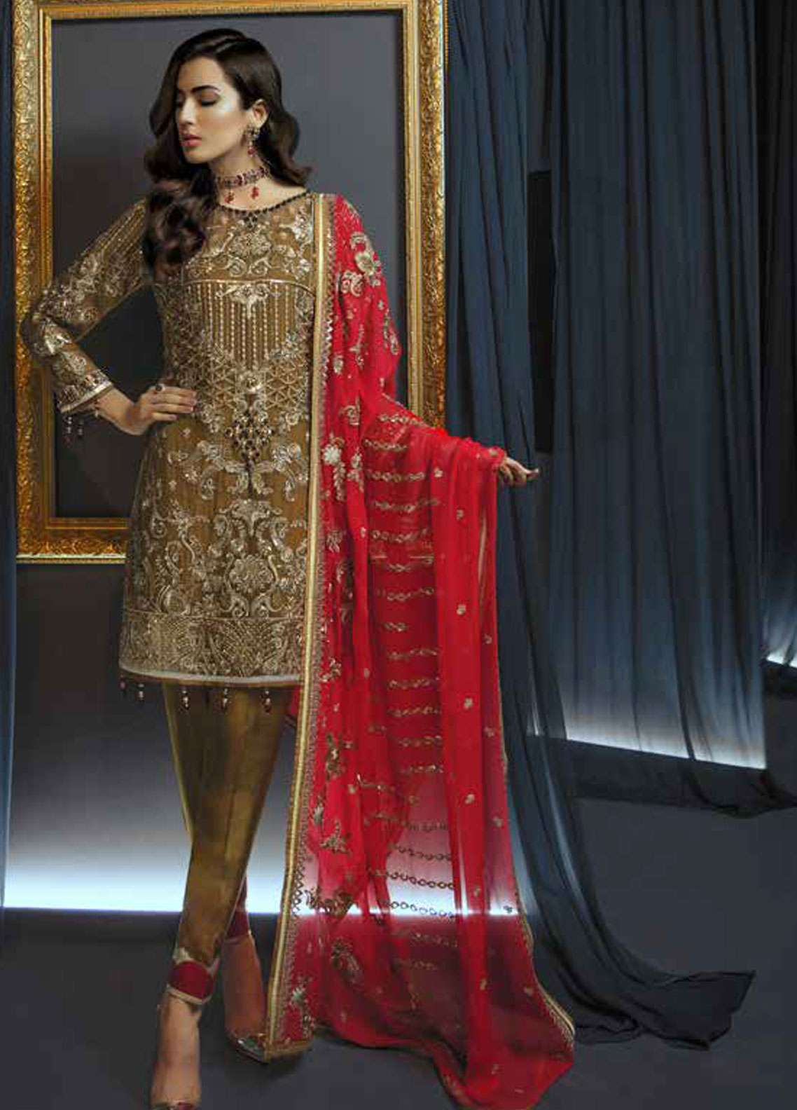 Emaan Adeel Embroidered Chiffon Unstitched 3 Piece Suit EA19C 103 RED CARAT - Luxury Collection