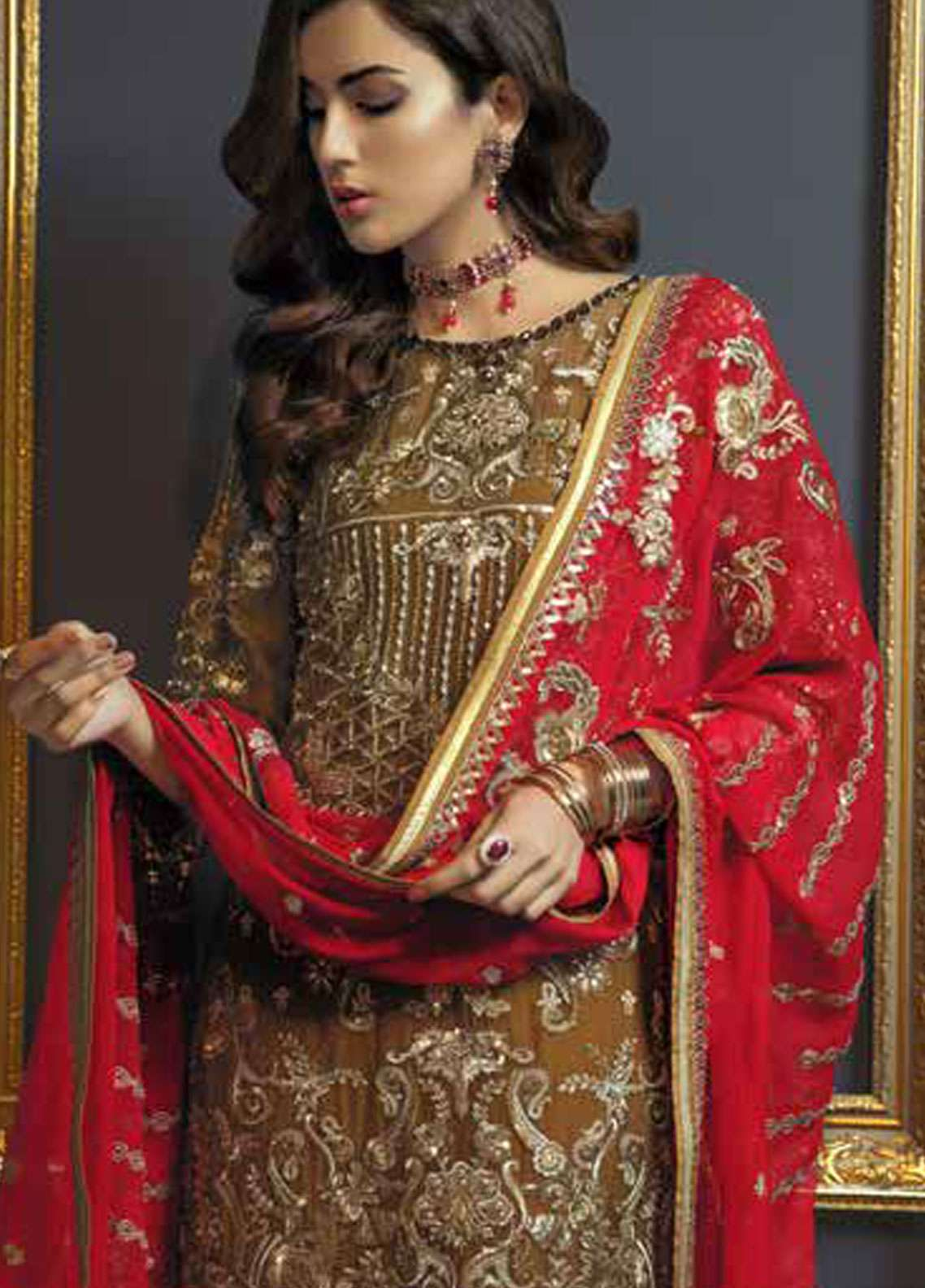 e2484651da Emaan Adeel Embroidered Chiffon Unstitched 3 Piece Suit EA19C 103 RED CARAT  - Luxury Collection