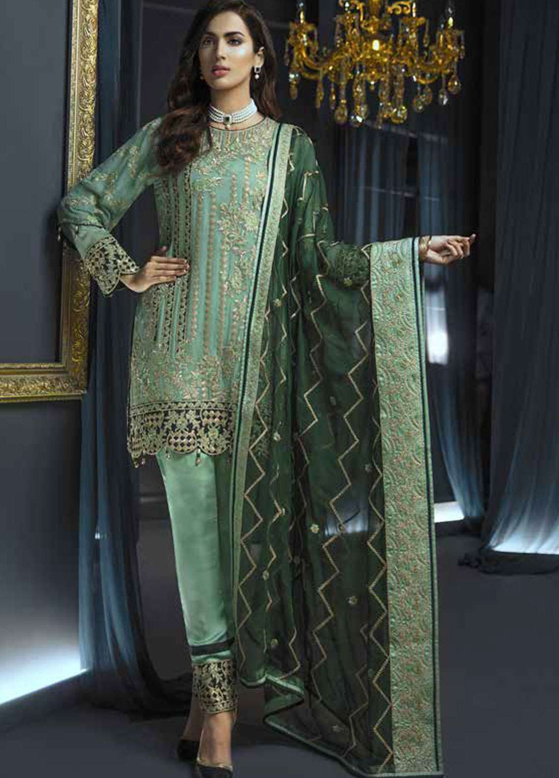 Emaan Adeel Embroidered Chiffon Unstitched 3 Piece Suit EA19C 104 LUSH CHARMS - Luxury Collection