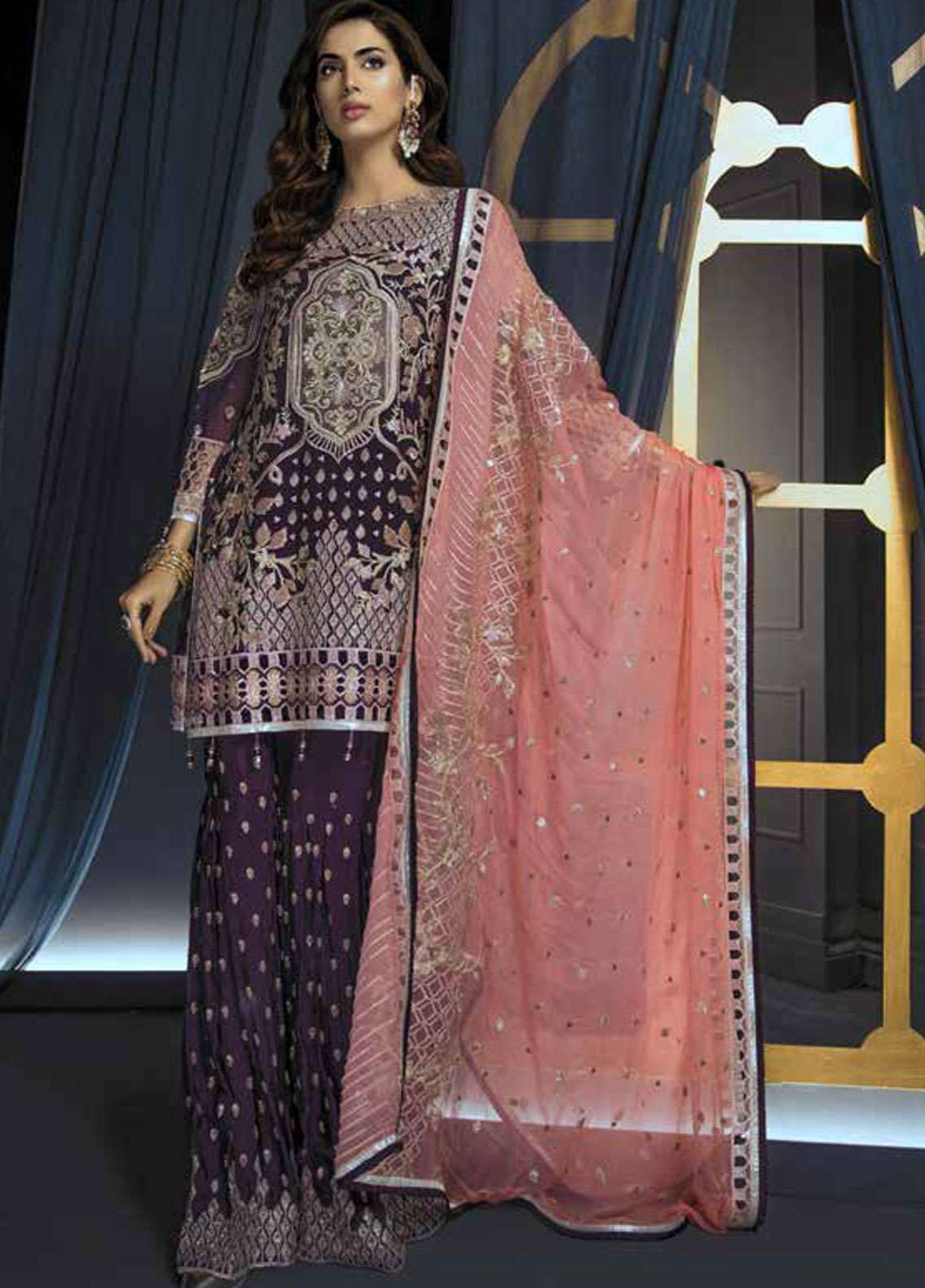 Emaan Adeel Embroidered Chiffon Unstitched 3 Piece Suit EA19C 105 PURPLE RIDDLE - Luxury Collection
