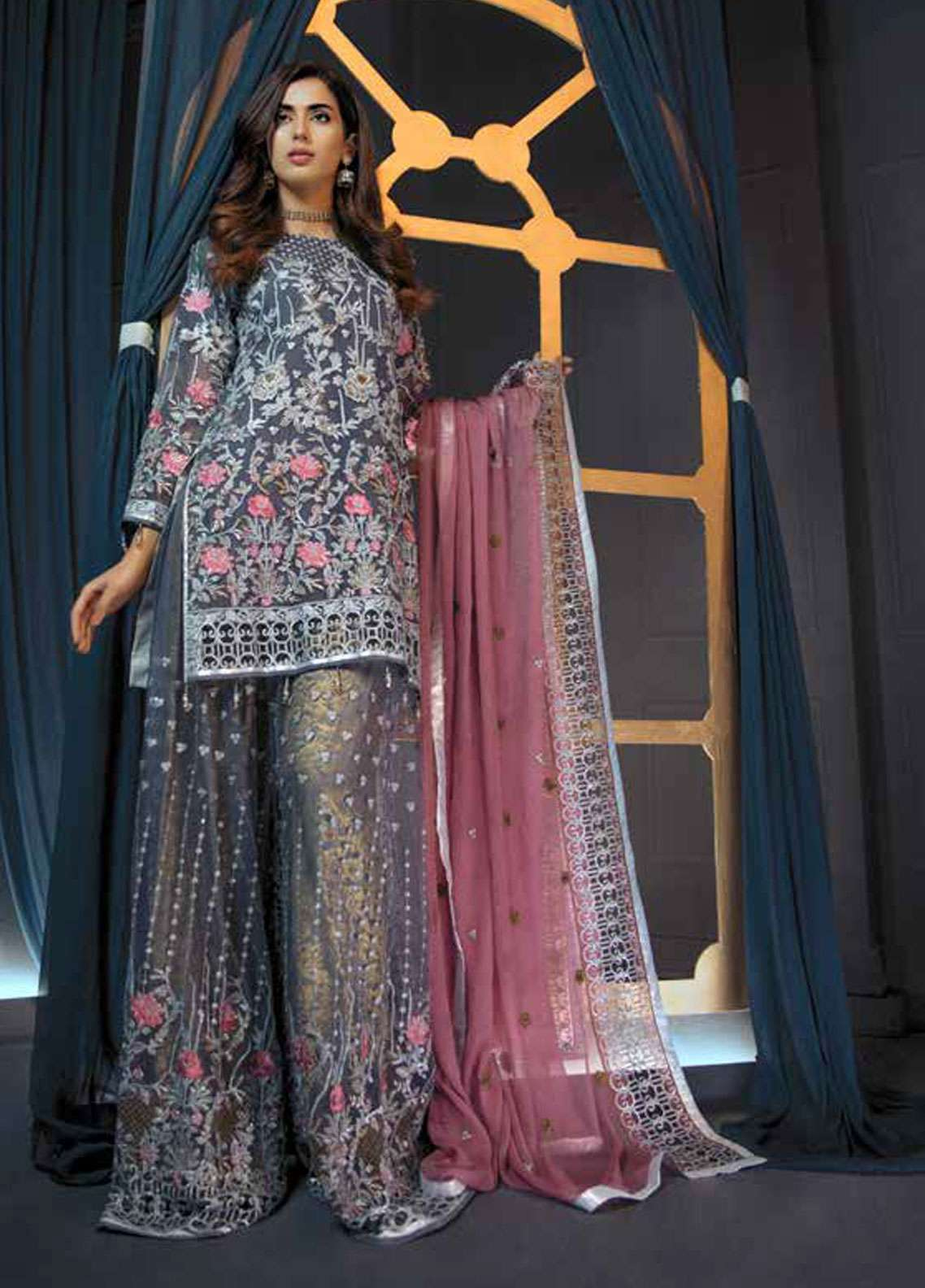 Emaan Adeel Embroidered Chiffon Unstitched 3 Piece Suit EA19C 106 MOONLIT NIGHT - Luxury Collection