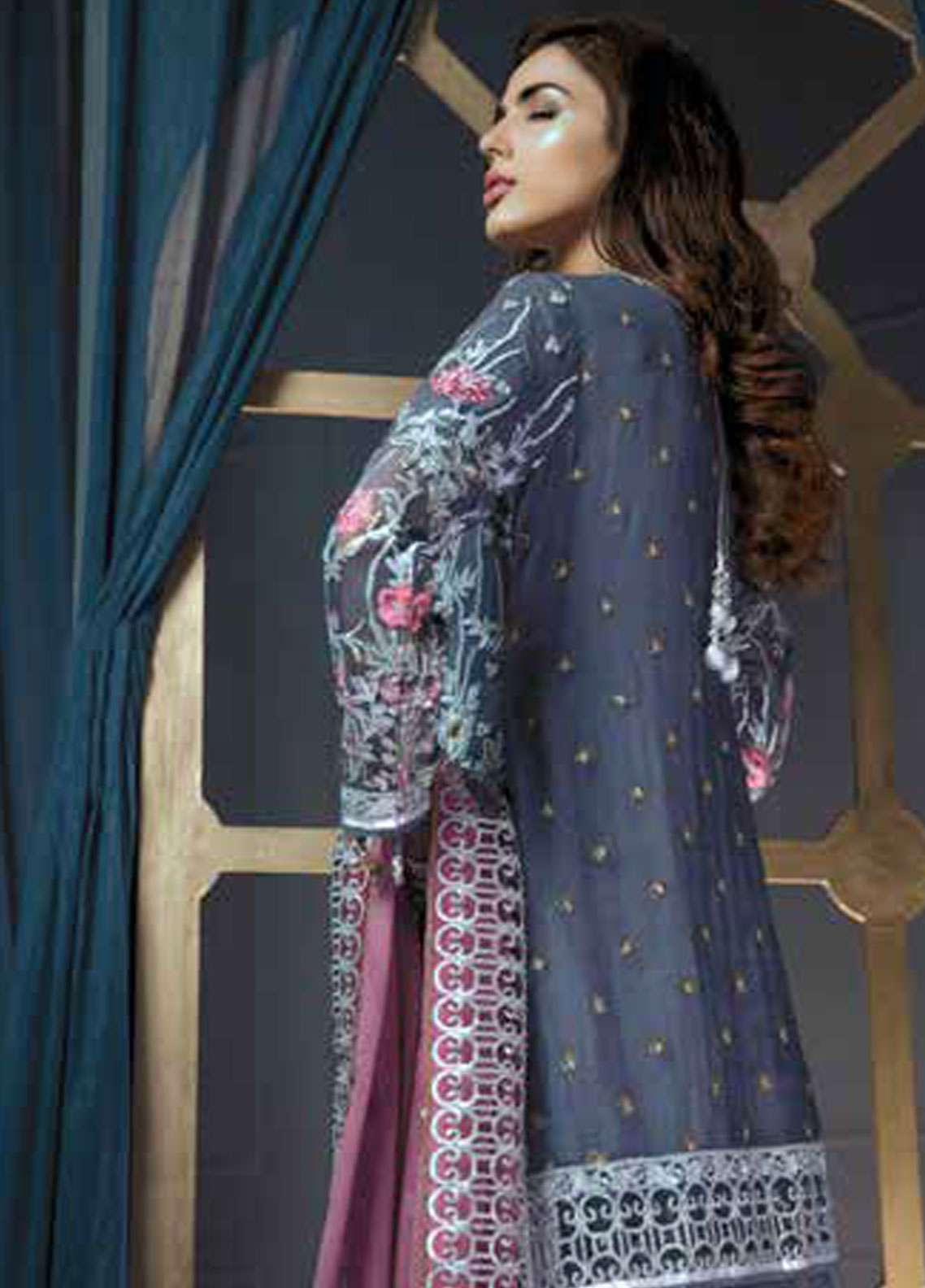 e8f3fe0fc5 Emaan Adeel Embroidered Chiffon Unstitched 3 Piece Suit EA19C 106 MOONLIT  ...