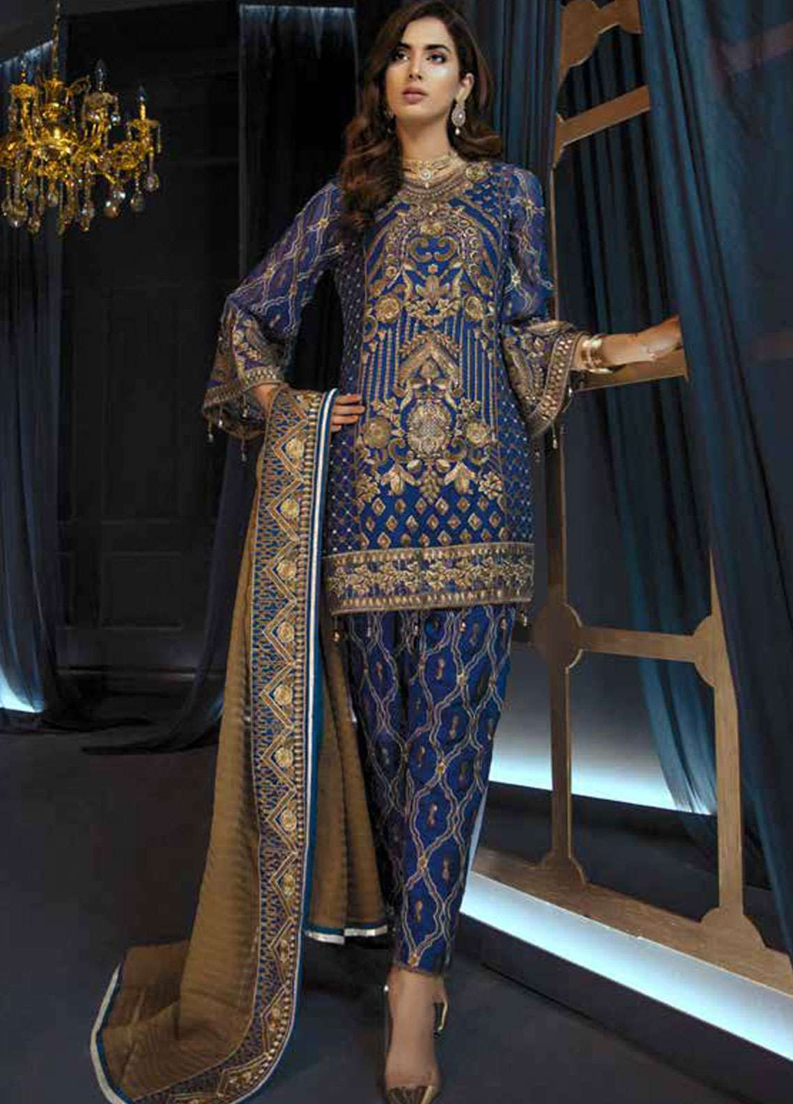Emaan Adeel Embroidered Chiffon Unstitched 3 Piece Suit EA19C 109 BLUE ALLOY - Luxury Collection