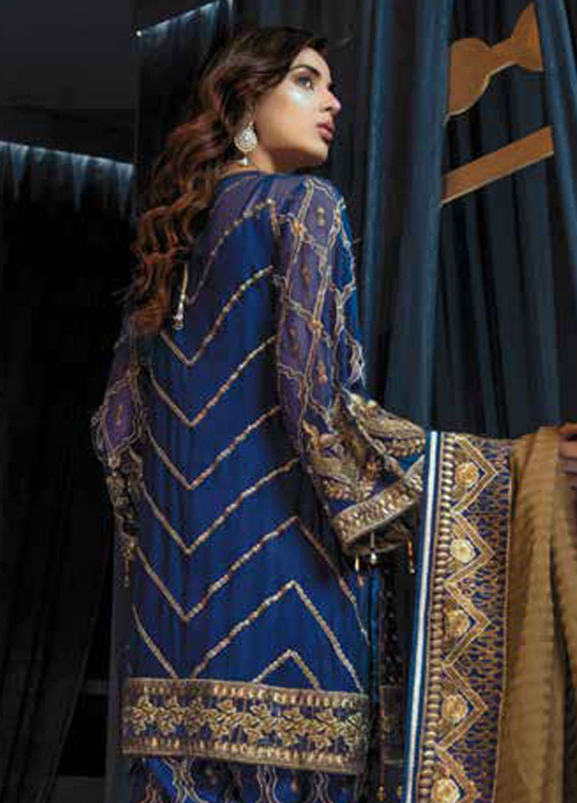 862ae227ad Emaan Adeel Embroidered Chiffon Unstitched 3 Piece Suit EA19C 109 BLUE  ALLOY ...