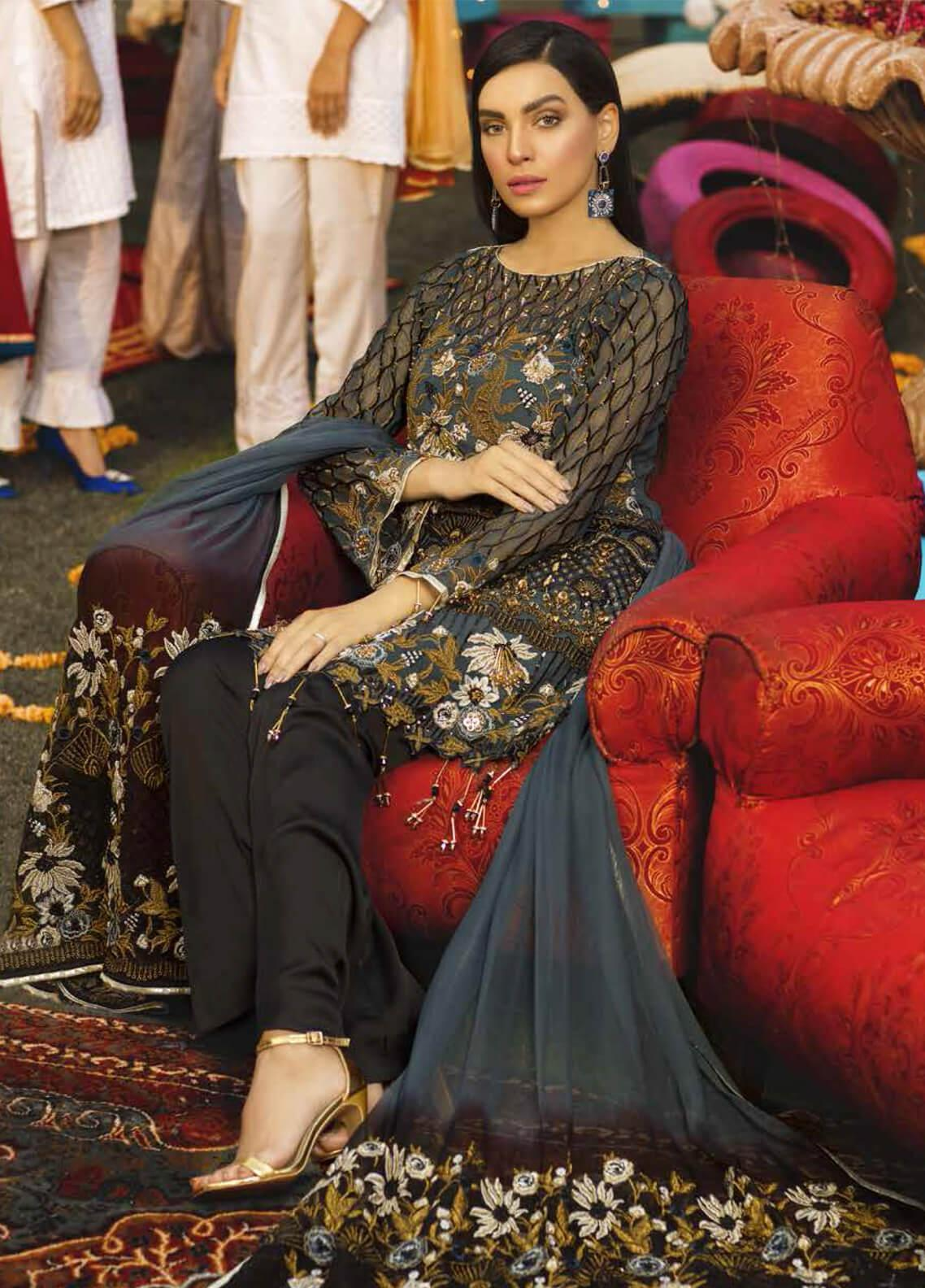 Emaan Adeel Embroidered Chiffon Unstitched 3 Piece Suit EA19-C6 603 - Luxury Collection