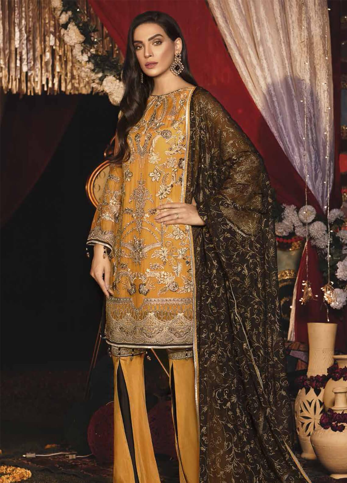 Emaan Adeel Embroidered Chiffon Unstitched 3 Piece Suit EA19-C6 607 - Luxury Collection