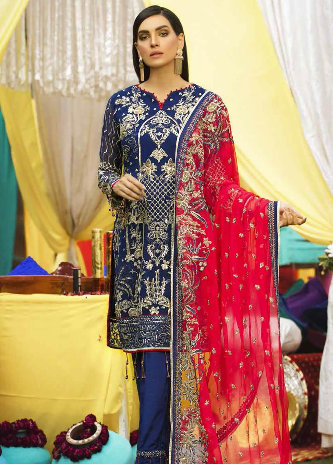 Emaan Adeel Embroidered Chiffon Unstitched 3 Piece Suit EA19-C6 610 - Luxury Collection