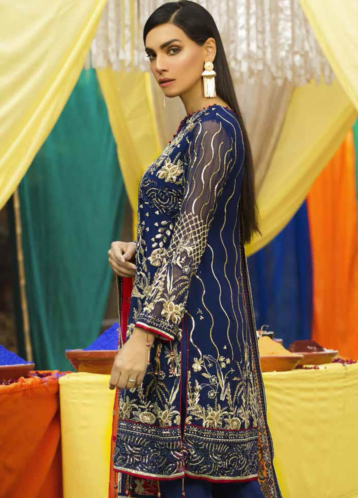 bb7abf8e12 Emaan Adeel Embroidered Chiffon Unstitched 3 Piece Suit EA19-C6 610 - Luxury  Collection