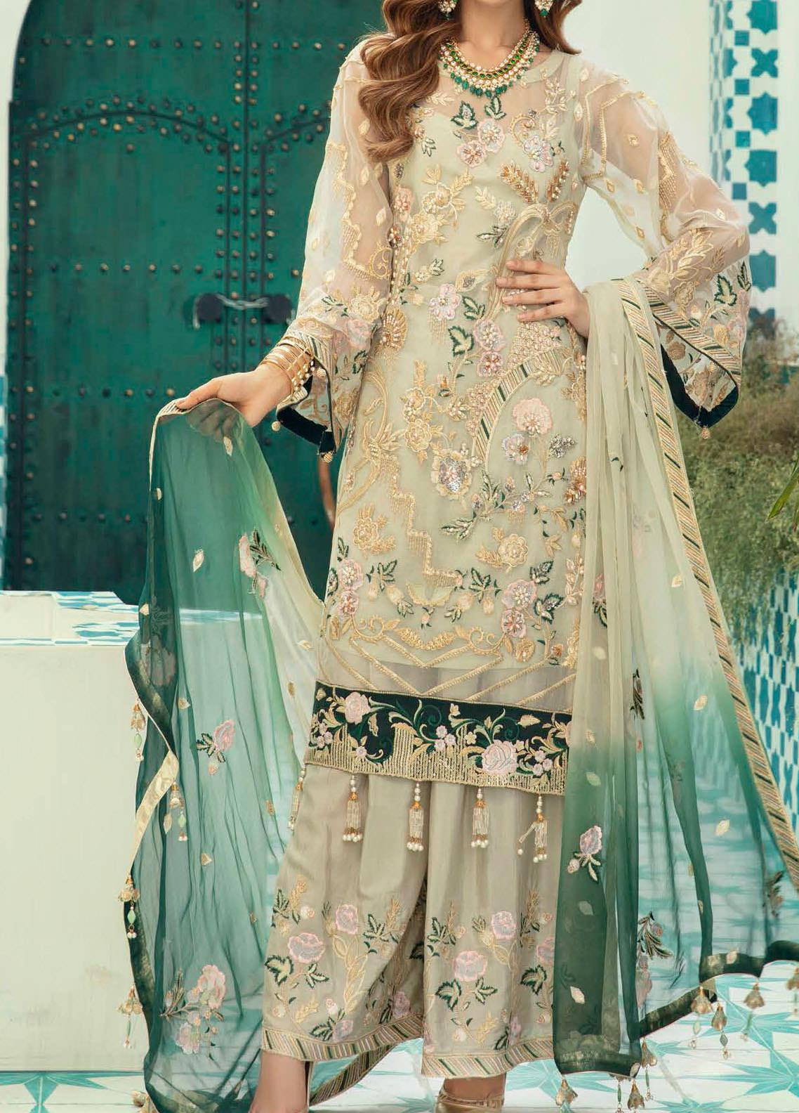 Emaan Adeel Embroidered Organza Unstitched 3 Piece Suit EA20-C13 1309 - Luxury Collection