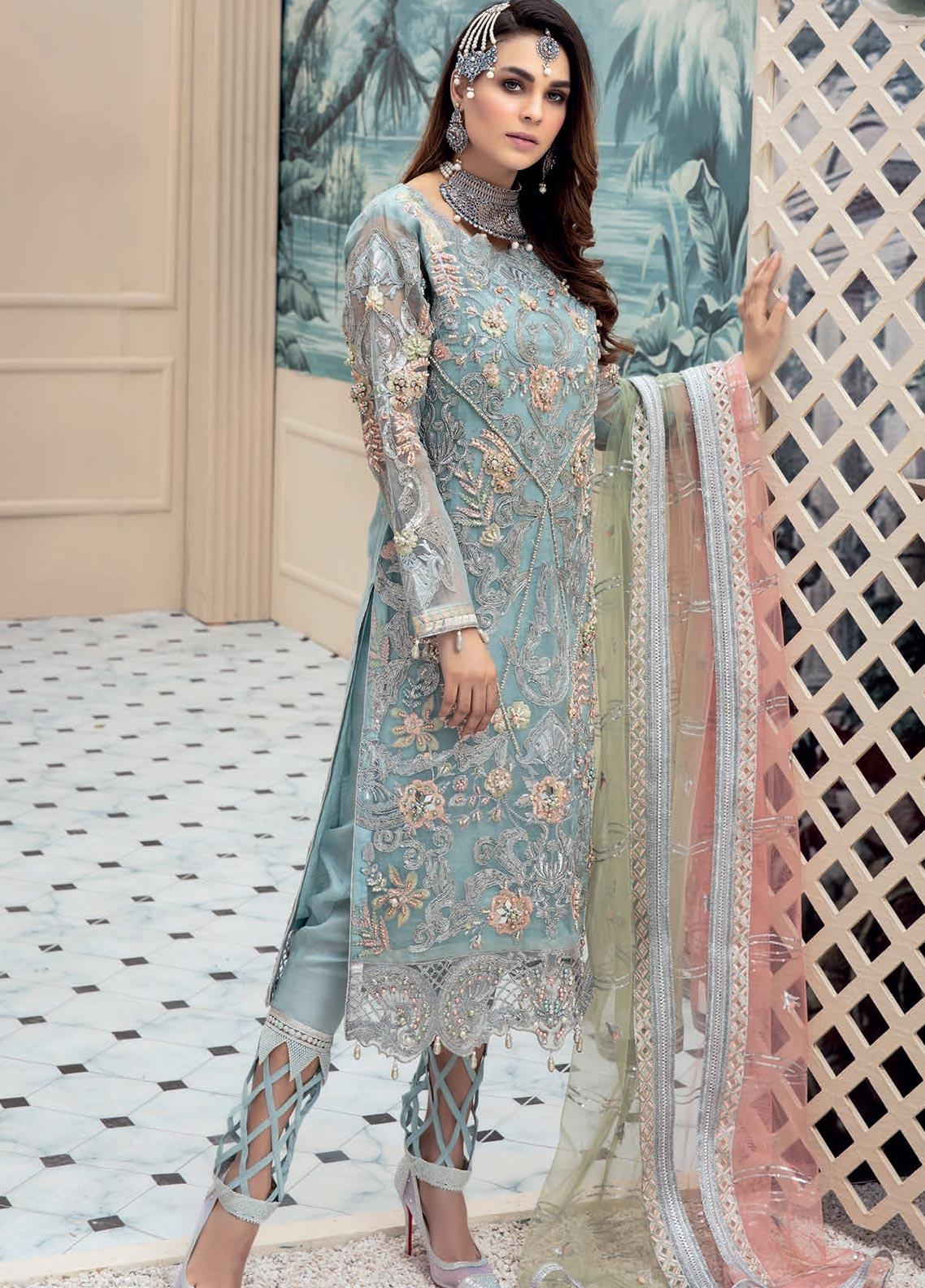 Emaan Adeel Embroidered Chiffon Unstitched 3 Piece Suit EA20LC 1106 - Luxury Collection