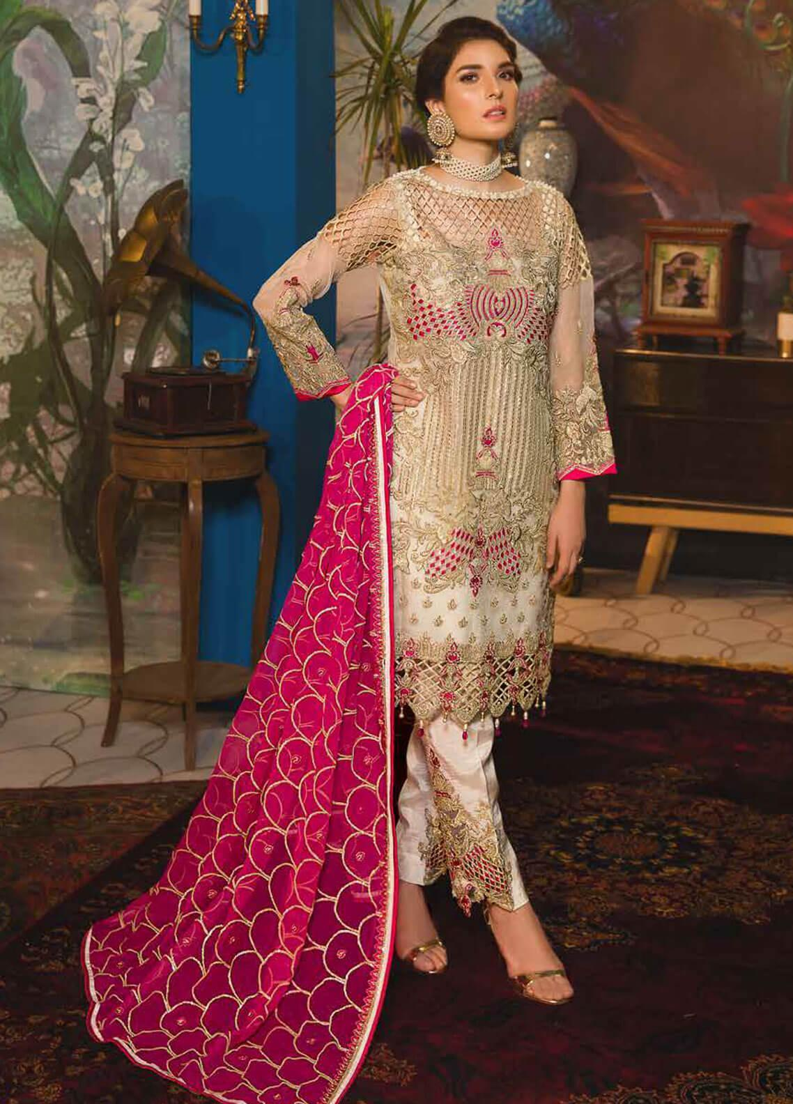 Emaan Adeel Embroidered Chiffon Unstitched 3 Piece Suit EA19-C7 701 - Festive Collection