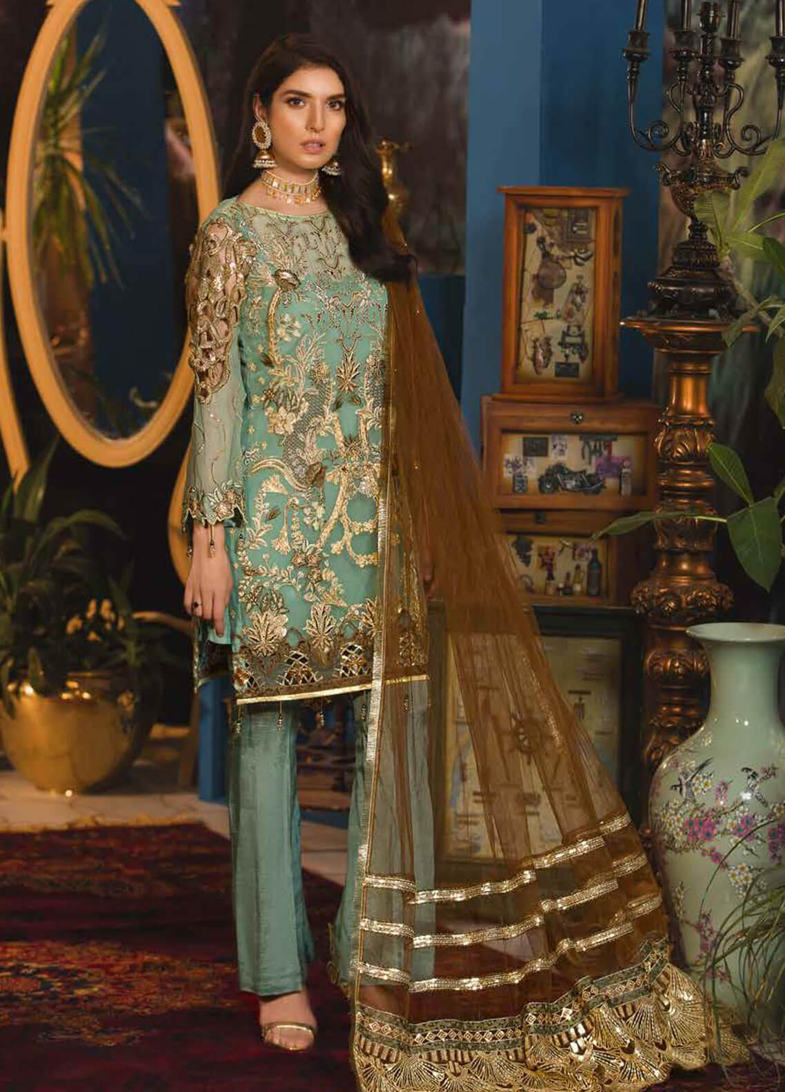 Emaan Adeel Embroidered Chiffon Unstitched 3 Piece Suit EA19-C7 702 - Festive Collection