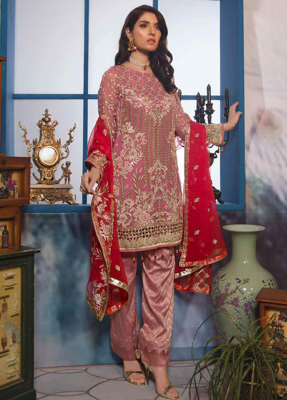 Emaan Adeel Embroidered Chiffon Unstitched 3 Piece Suit EA19-C7 707 - Festive Collection