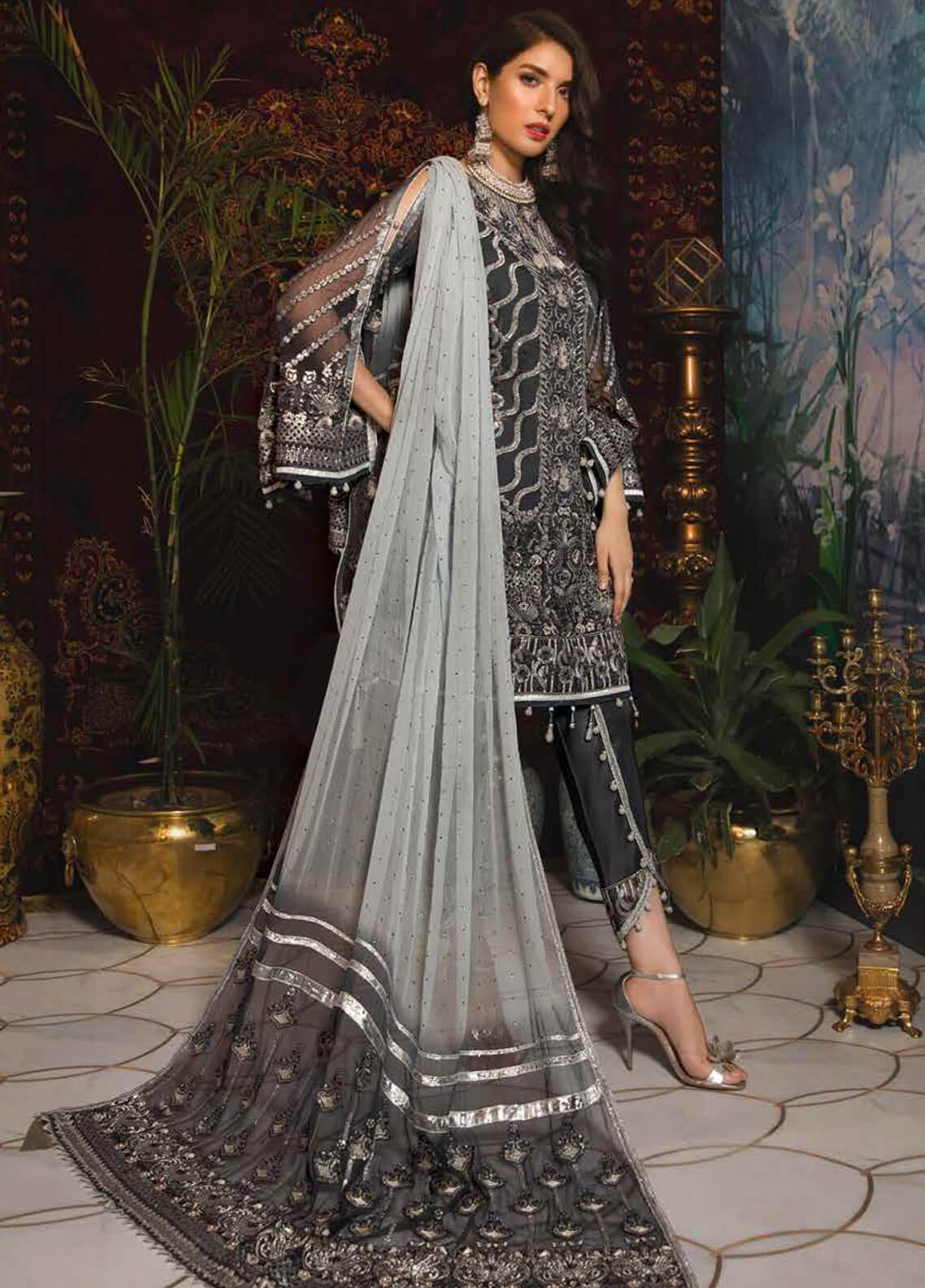 Emaan Adeel Embroidered Chiffon Unstitched 3 Piece Suit EA19-C7 708 - Festive Collection