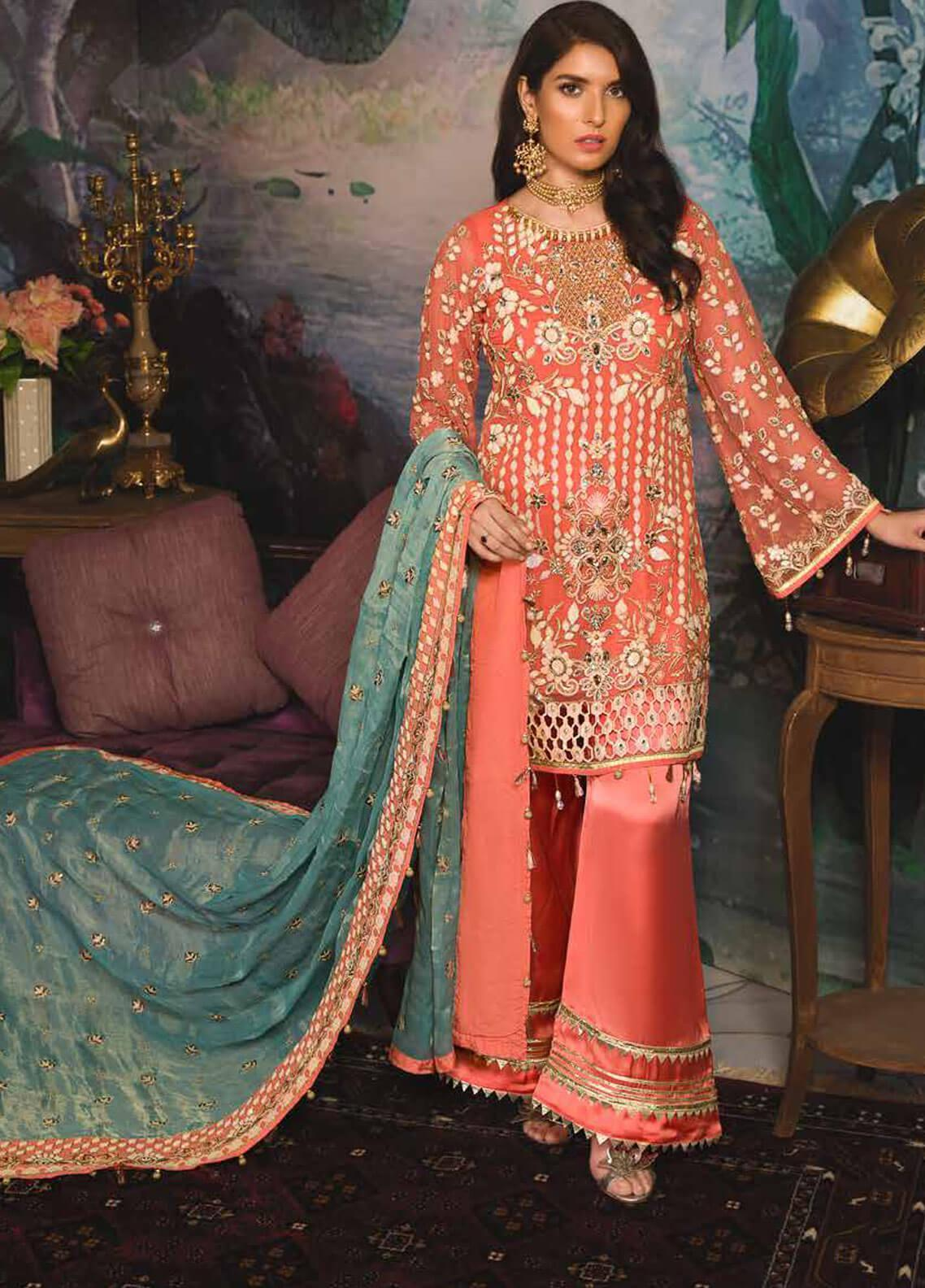 Emaan Adeel Embroidered Chiffon Unstitched 3 Piece Suit EA19-C7 709 - Festive Collection