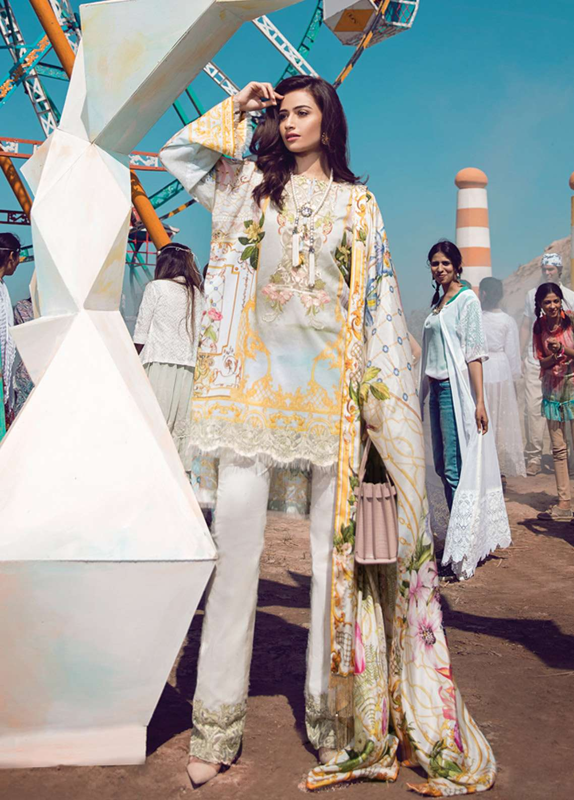 Epoque By Sana Yasir Embroidered Lawn Unstitched 3 Piece Suit EP18L 10 - Spring / Summer Collection