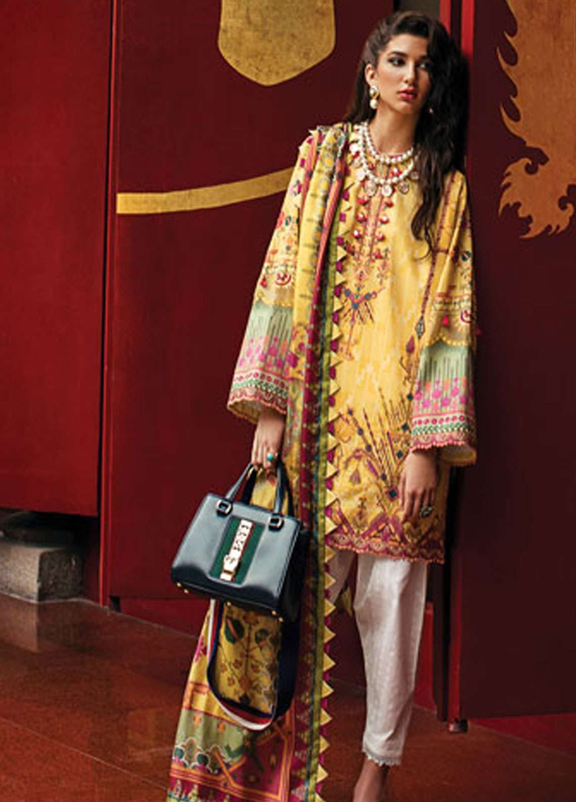 19f7ccc18d Epoque by Sana Yasir Embroidered Lawn Unstitched 3 Piece Suit EP19L 02  CANARY AZTEC - Spring