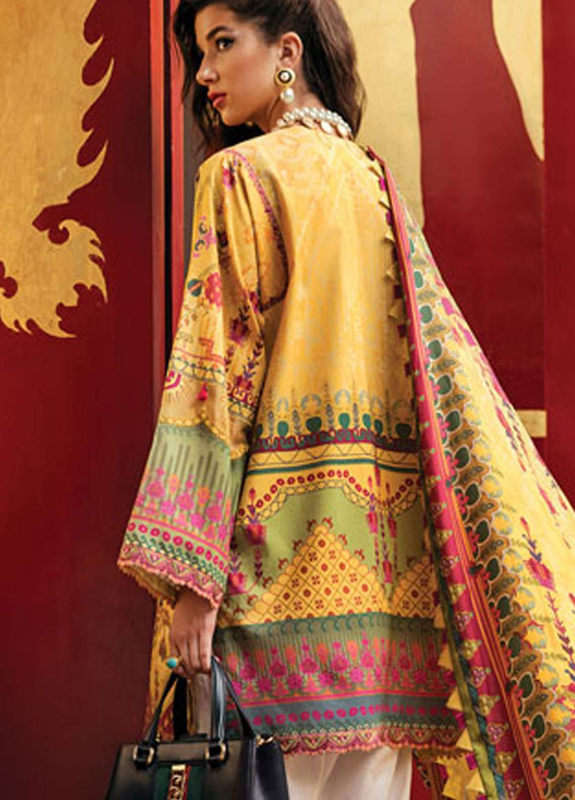 d5123102b7 Epoque by Sana Yasir Embroidered Lawn Unstitched 3 Piece Suit EP19L 02  CANARY AZTEC - Spring / Summer Collection