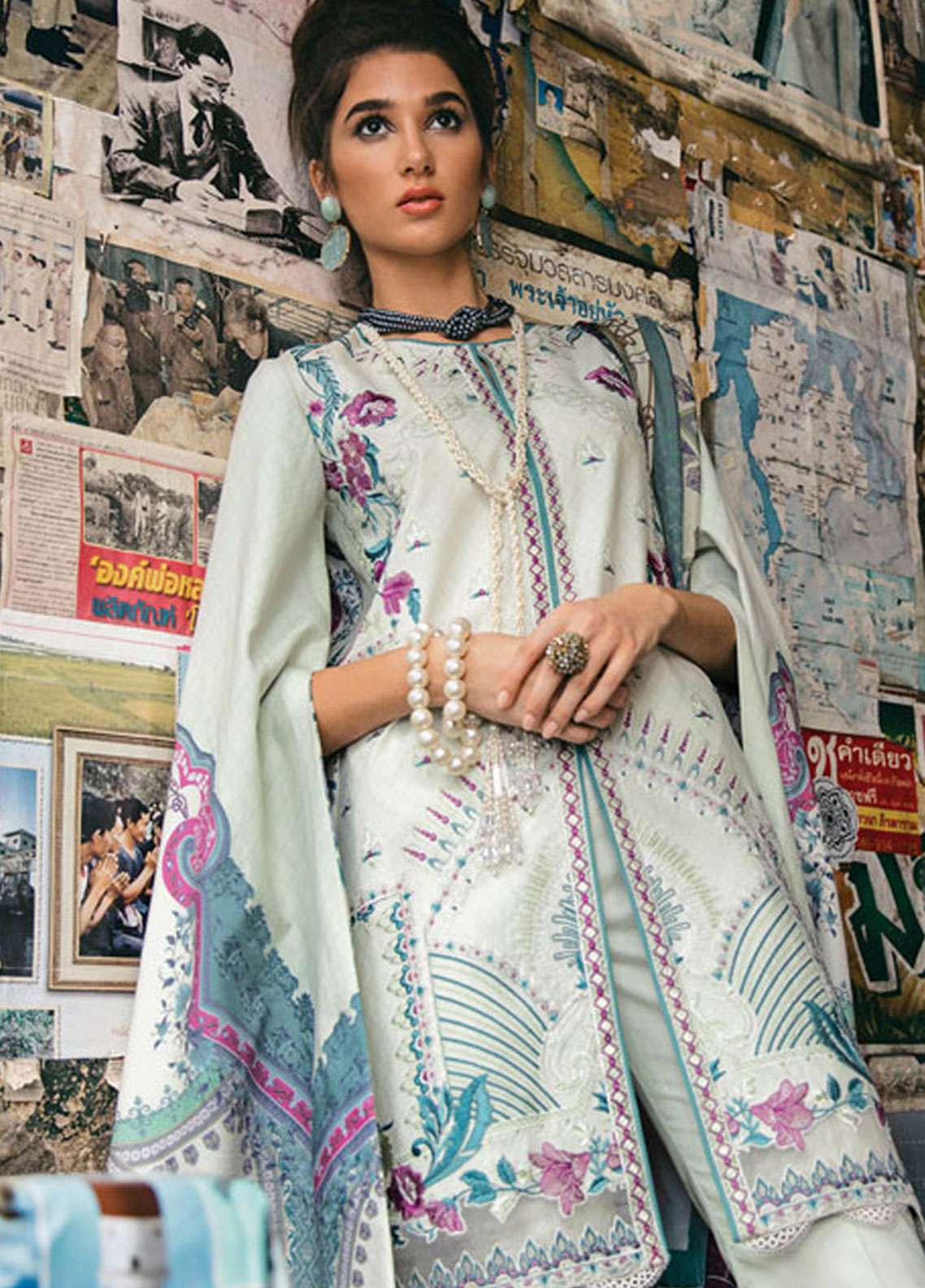 9f400bb1e1 Epoque by Sana Yasir Embroidered Lawn Unstitched 3 Piece Suit EP19L 08  ASTER - Spring /