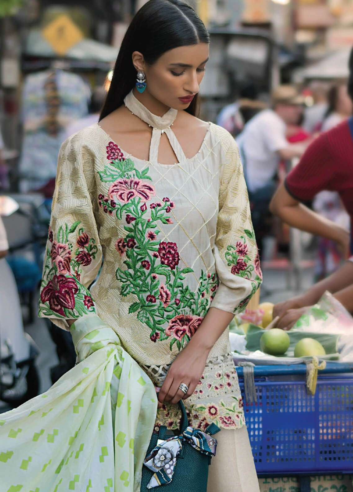 Erum Khan Embroidered Khaadi Unstitched 3 Piece Suit EK19C SECRET GARDEN - Luxury Collection
