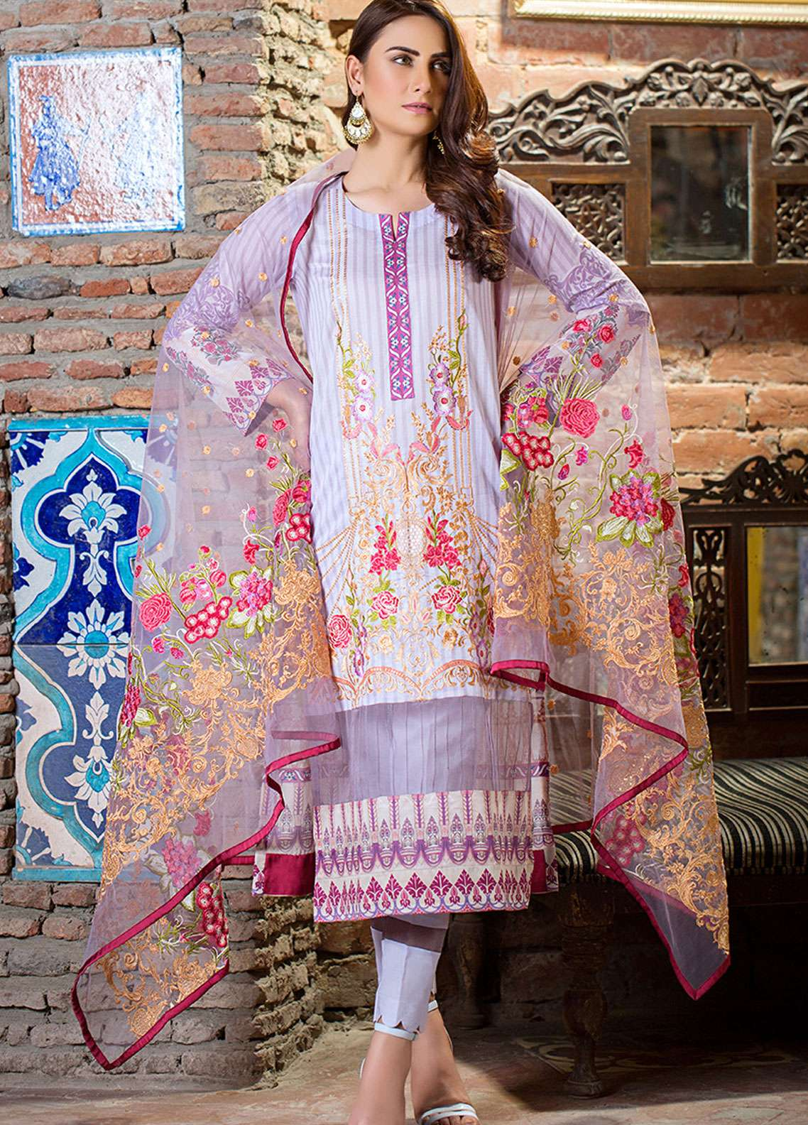 Esha & Isbah Embroidered Lawn Unstitched 3 Piece Suit EI19L 2A ANDALEEB - Spring / Summer Collection