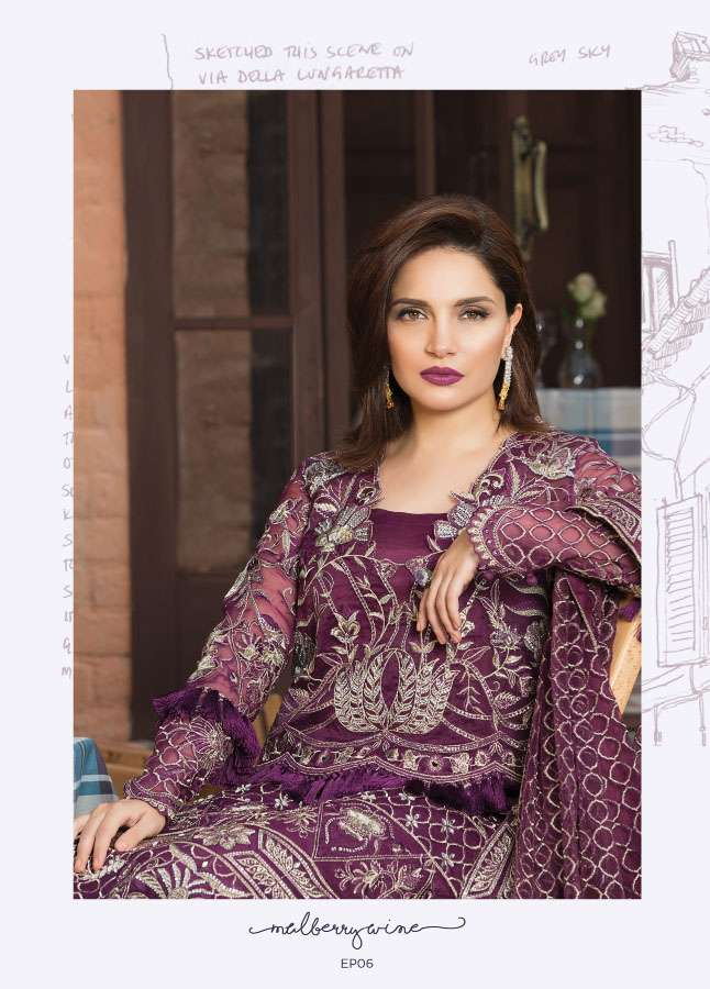 Epoque Suffuse by Sana Yasir Embroidered Organza Unstitched 3 Piece Suit ESY17C 06