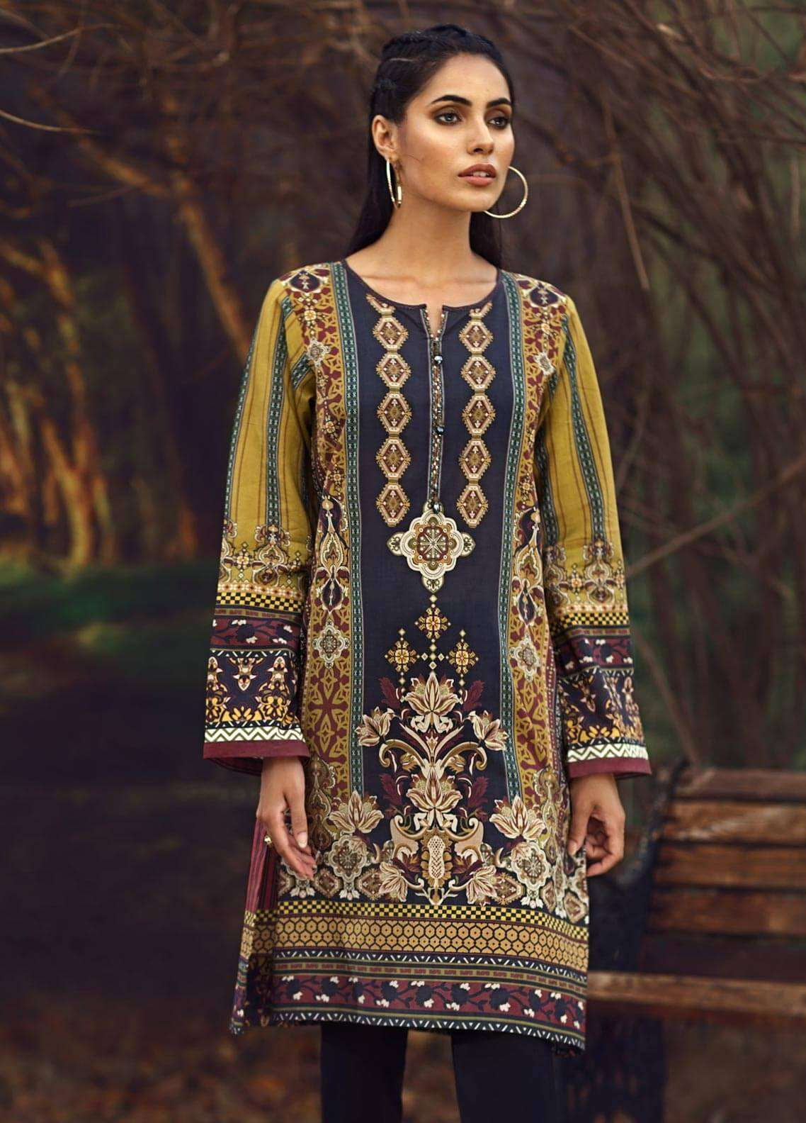 LimeLight Printed Cambric Unstitched Kurties ETHNIC FLORAL (OLIVE GREEN) - Cambric Collection