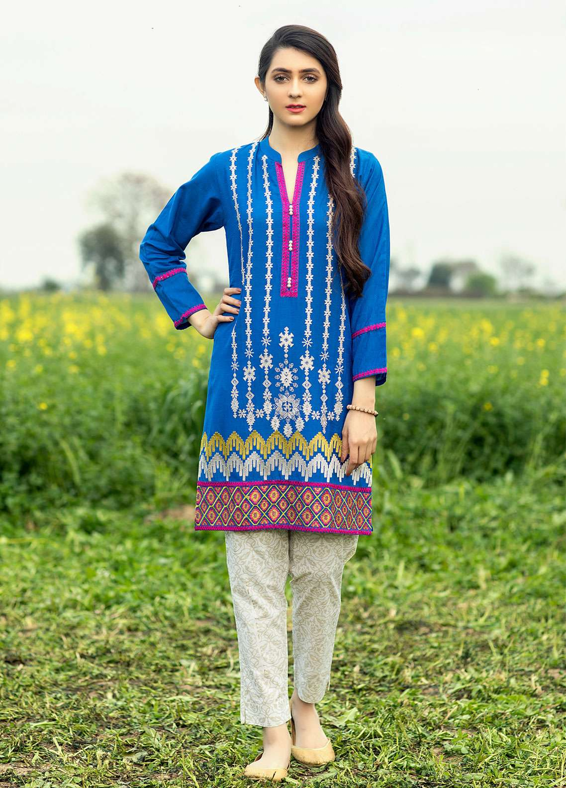 Festive Embroidered Cotton Net Stitched Kurtis F19WE110 Blue