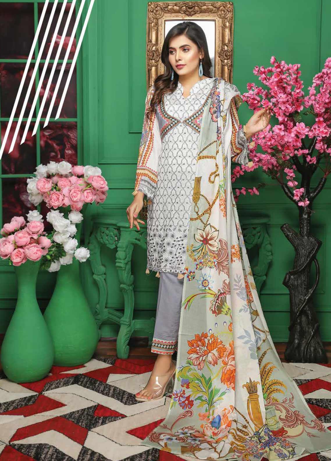 Puri Fabrics Embroidered Chikankari Lawn Unstitched 3 ...
