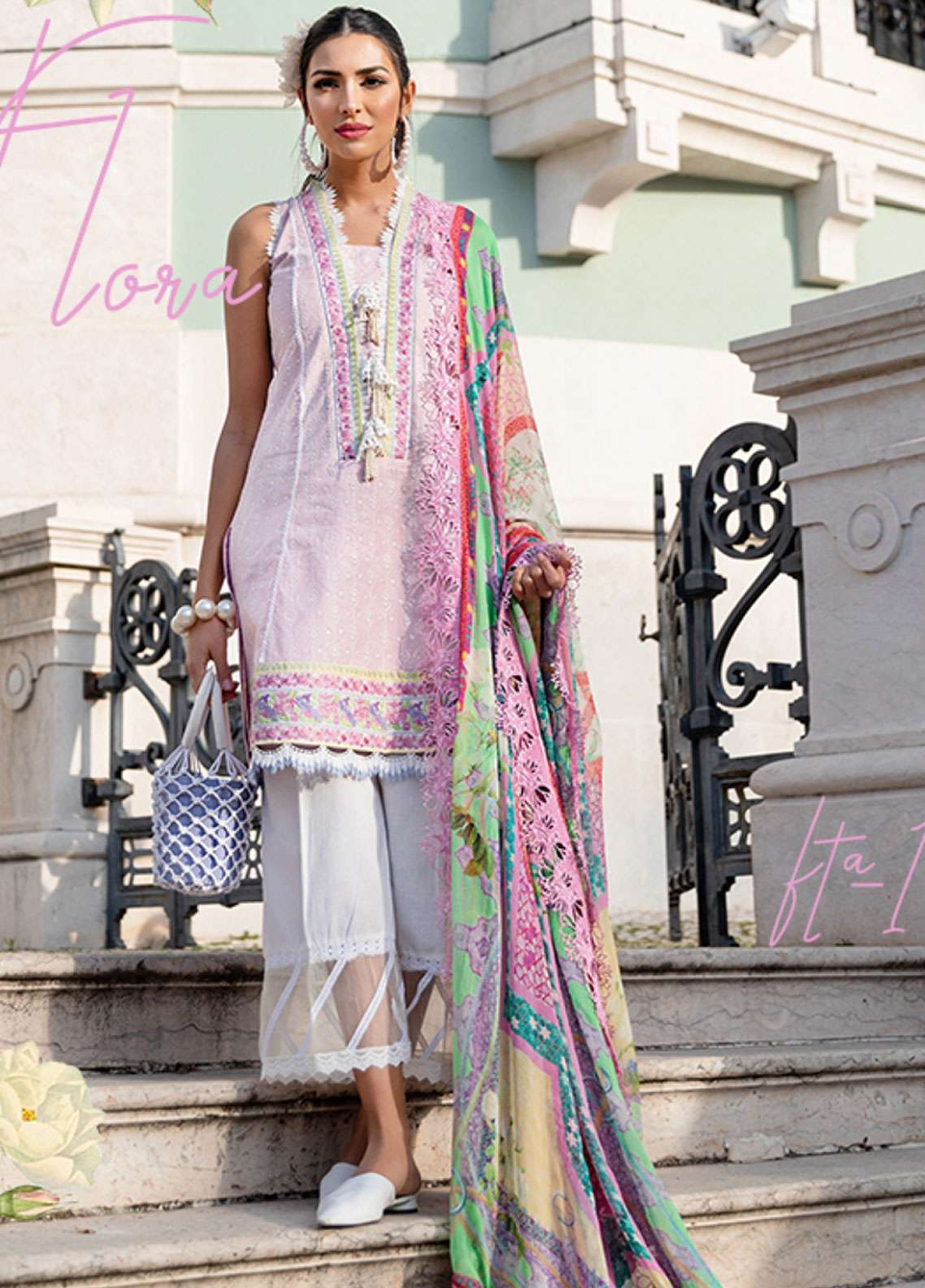 Farah Talib Embroidered Lawn Unstitched 3 Piece Suit FTA19L 11 Rosa Flora - Spring / Summer Collection