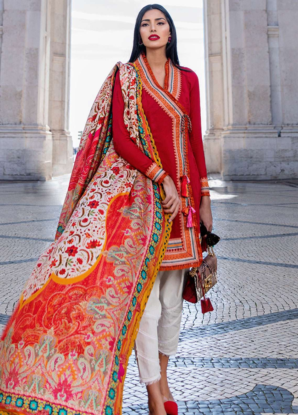Farah Talib Embroidered Lawn Unstitched 3 Piece Suit FTA19L 12 Scarlita - Spring / Summer Collection