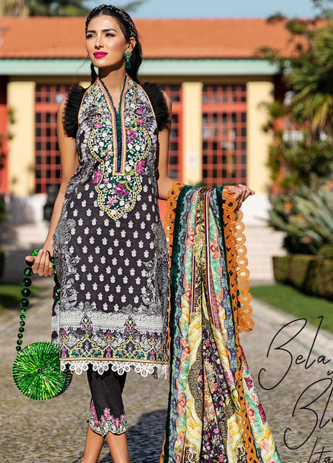 Farah Talib Embroidered Lawn Unstitched 3 Piece Suit FTA19L 13 Belaza Black - Spring / Summer Collection